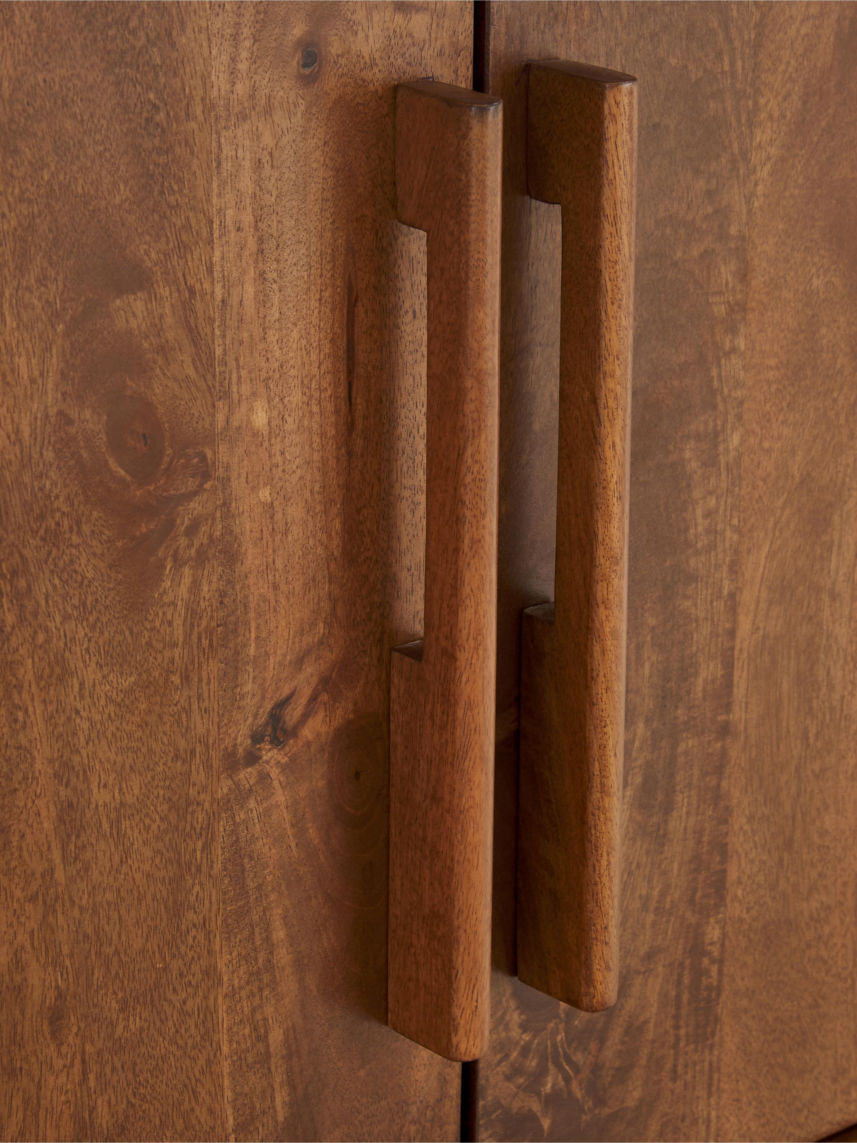 Komoda retro z drewna Paul, Brązowy, S 180 x W 75 cm