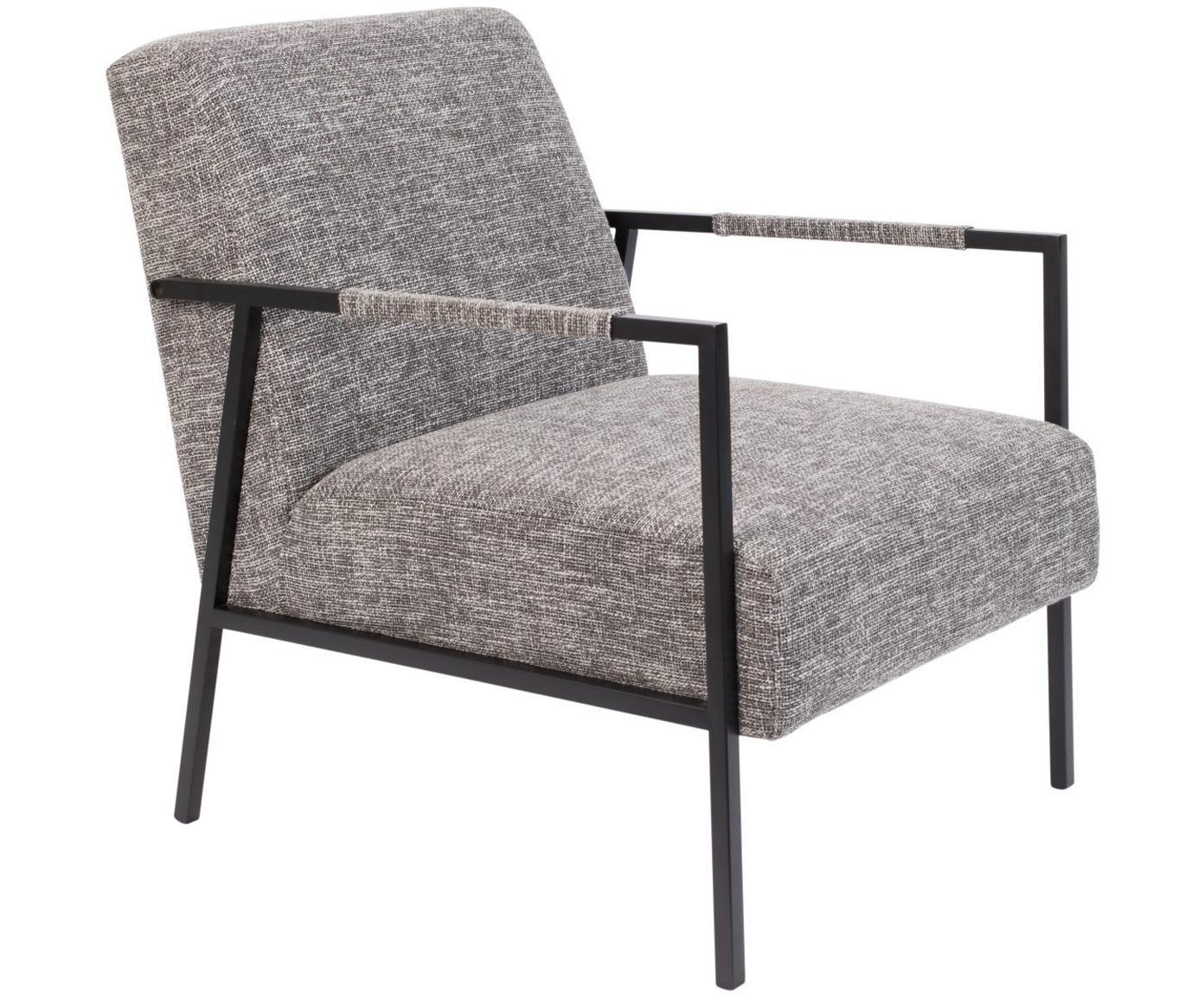 Loungefauteuil Wakasan in grijs, Bekleding: polyester, Frame: gepoedercoat metaal, Grijs, zwart, B 61 x D 81 cm
