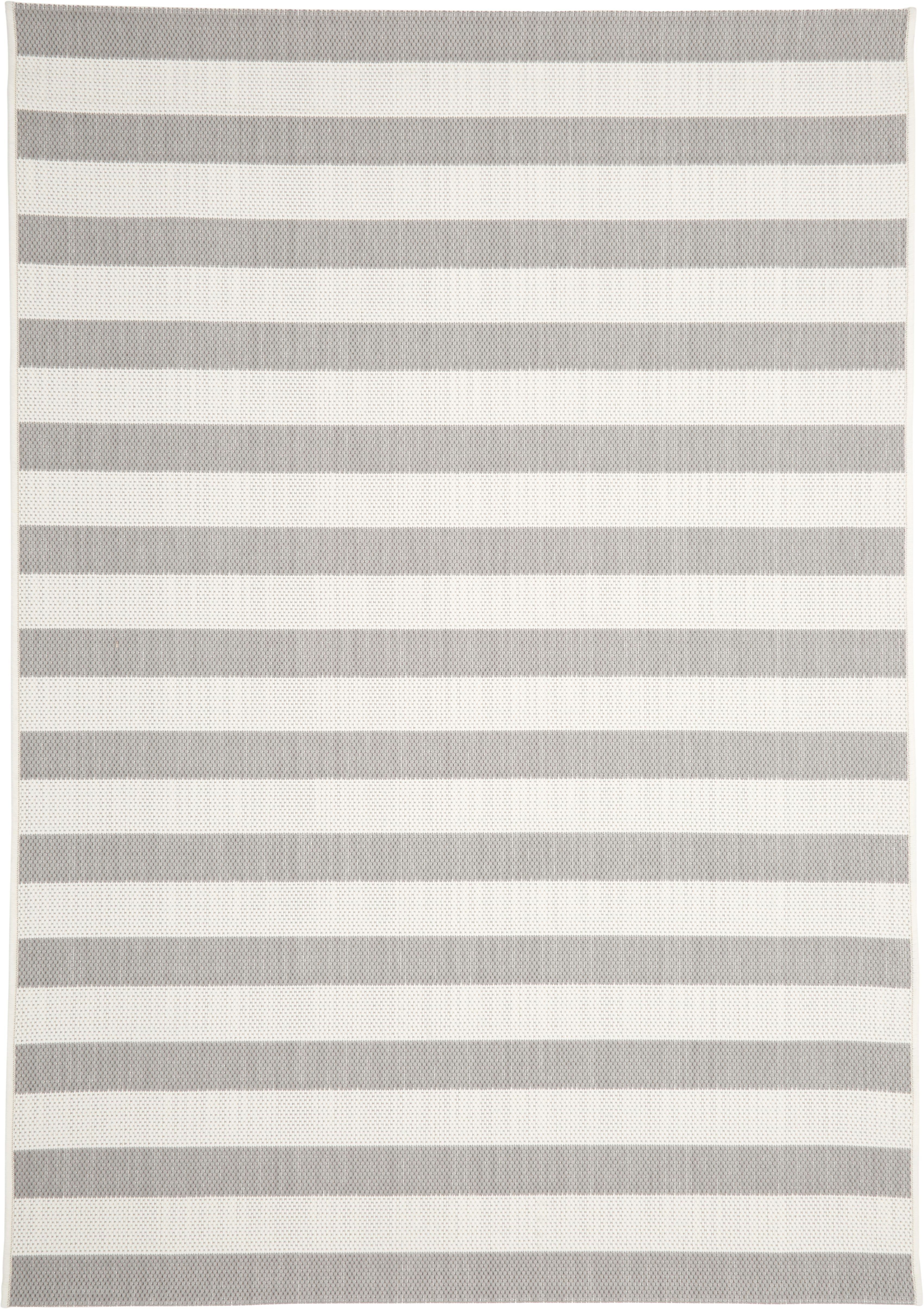 Tappeto da interno-esterno a righe Axa, Retro: poliestere, Bianco crema, grigio, Larg. 120 x Lung. 170 cm (taglia s)