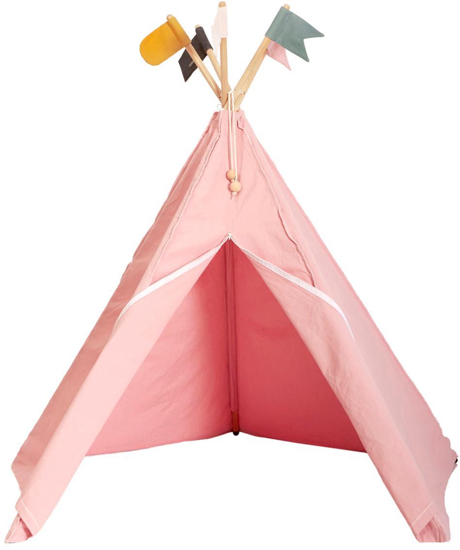 Tipi dla dzieci z bawełny organicznej Hippie, Bio-bawełna, Blady różowy, S 135 x W 135 cm