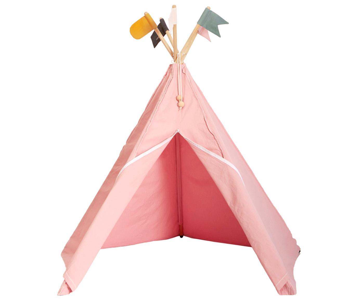 Kinder-tipi Hippie, Biokatoen, Roze, 135 x 135 cm