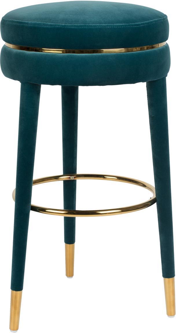 Stołek barowy z aksamitu I Am Not A Macaron, Tapicerka: aksamit poliestrowy 3000, Stelaż: drewno kauczukowe z z tap, Niebieski, Ø 41 x W 78 cm