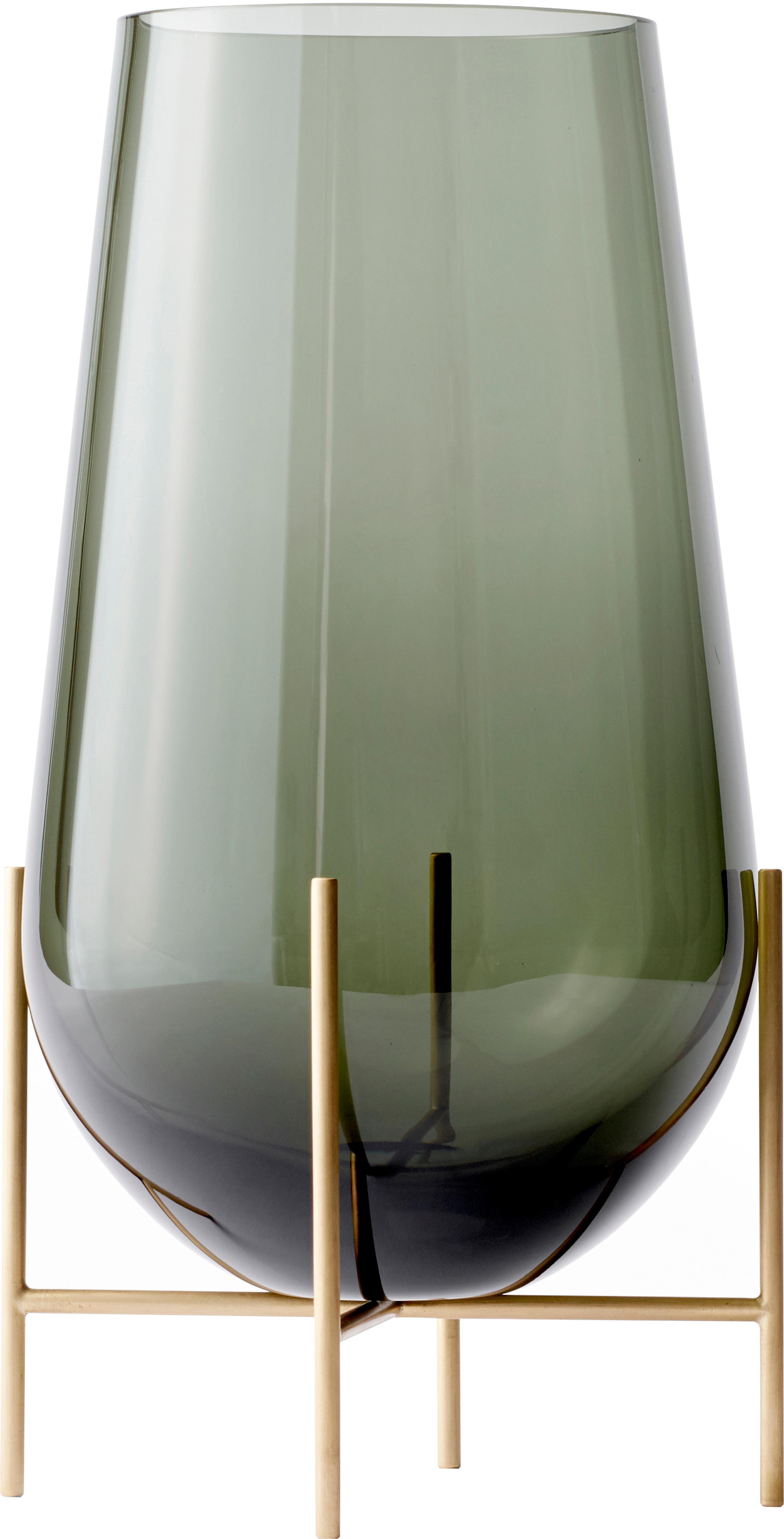 Grote design vaas Échasse, Frame: messing, Vaas: mondgeblazen glas, Messingkleurig, Ø 15 x H 45 cm
