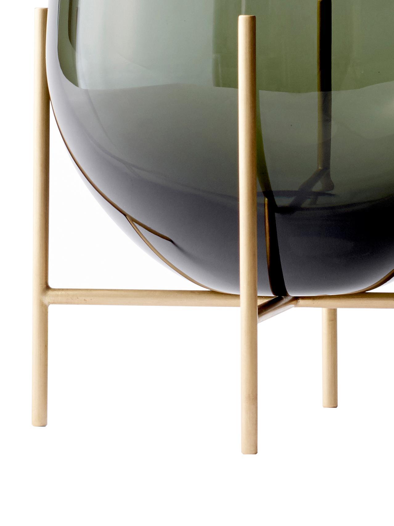 Vaso di design Échasse, Struttura: ottone, Vaso: vetro soffiato, Ottone, Ø 15 x Alt. 45 cm