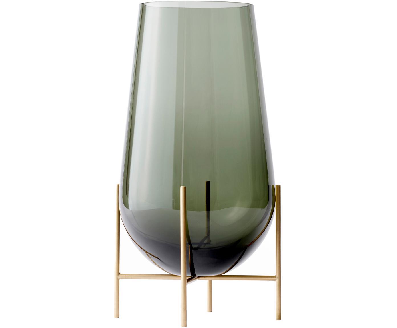 Grosse Design-Vase Échasse, Gestell: Messing, Vase: Glas, mundgeblasen, Messingfarben, Ø 15 x H 45 cm