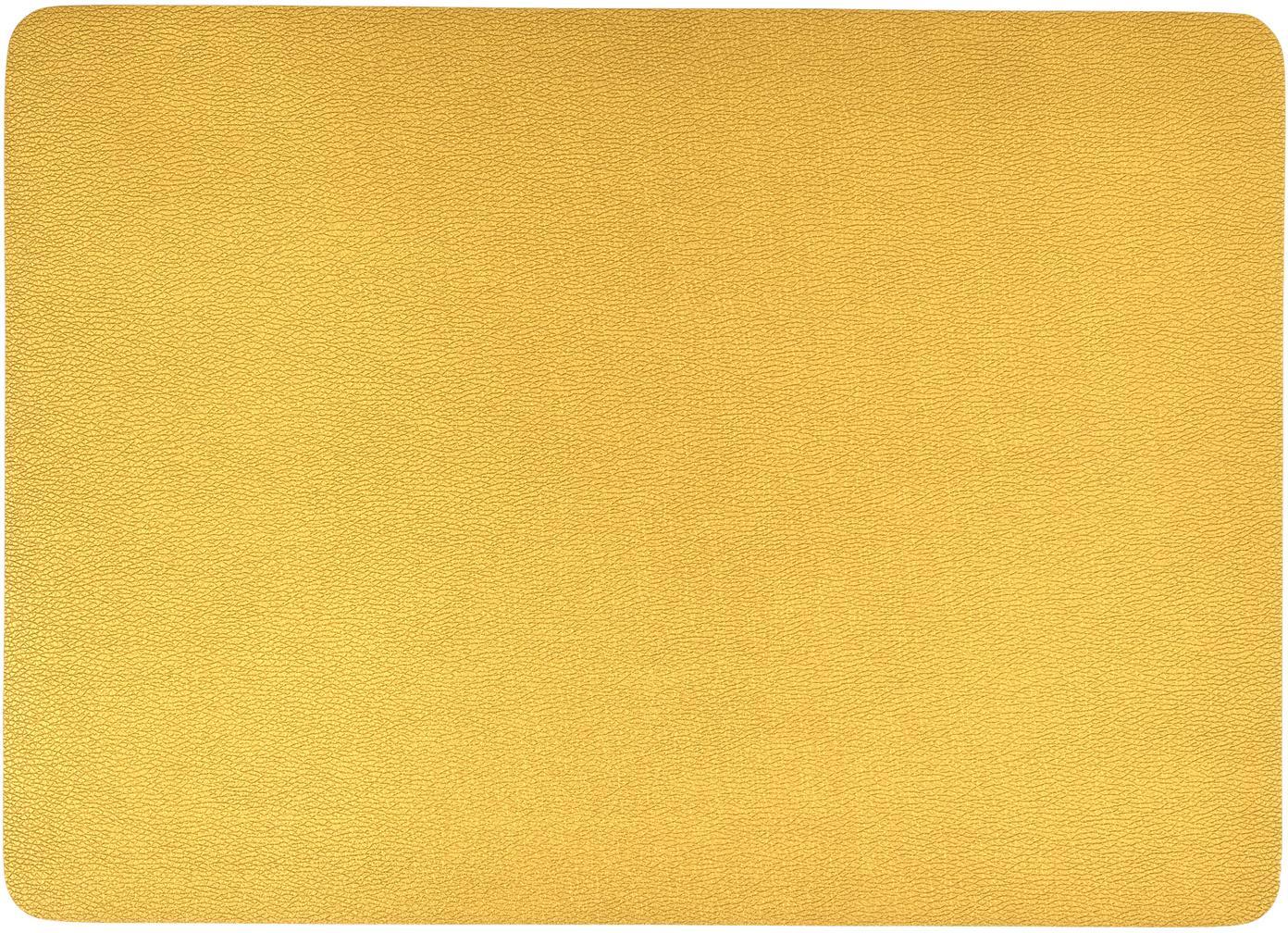 Manteles individuales de cuero sintético Pik, 2uds., Plástico (PVC) es aspecto de cuero, Dorado, An 33x L 46 cm