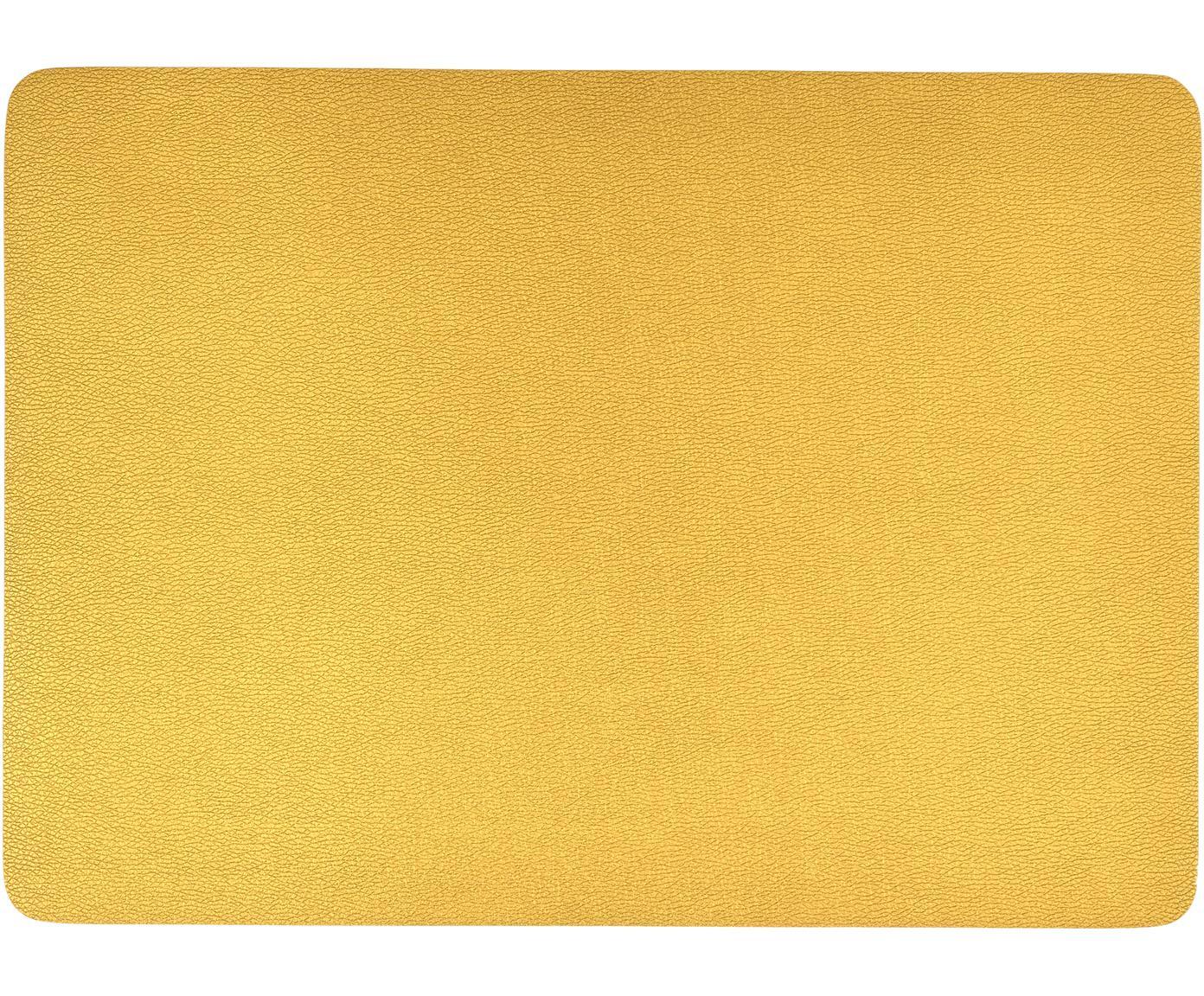 Kunststoffen placemats Pik van kunstleer, 2 stuks, Kunststof (PVC) van kunstleer, Goudkleurig, 33 x 46 cm