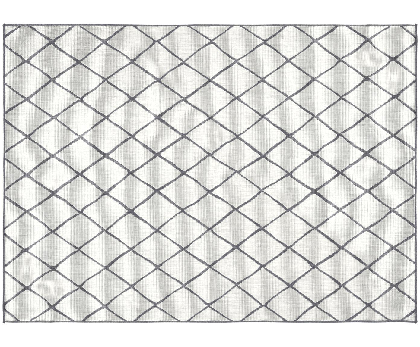 In- und Outdoor-Wendeteppich Malaga mit Rautenmuster, Grau/Creme, Grau, Cremefarben, B 80 x L 150 cm (Größe XS)
