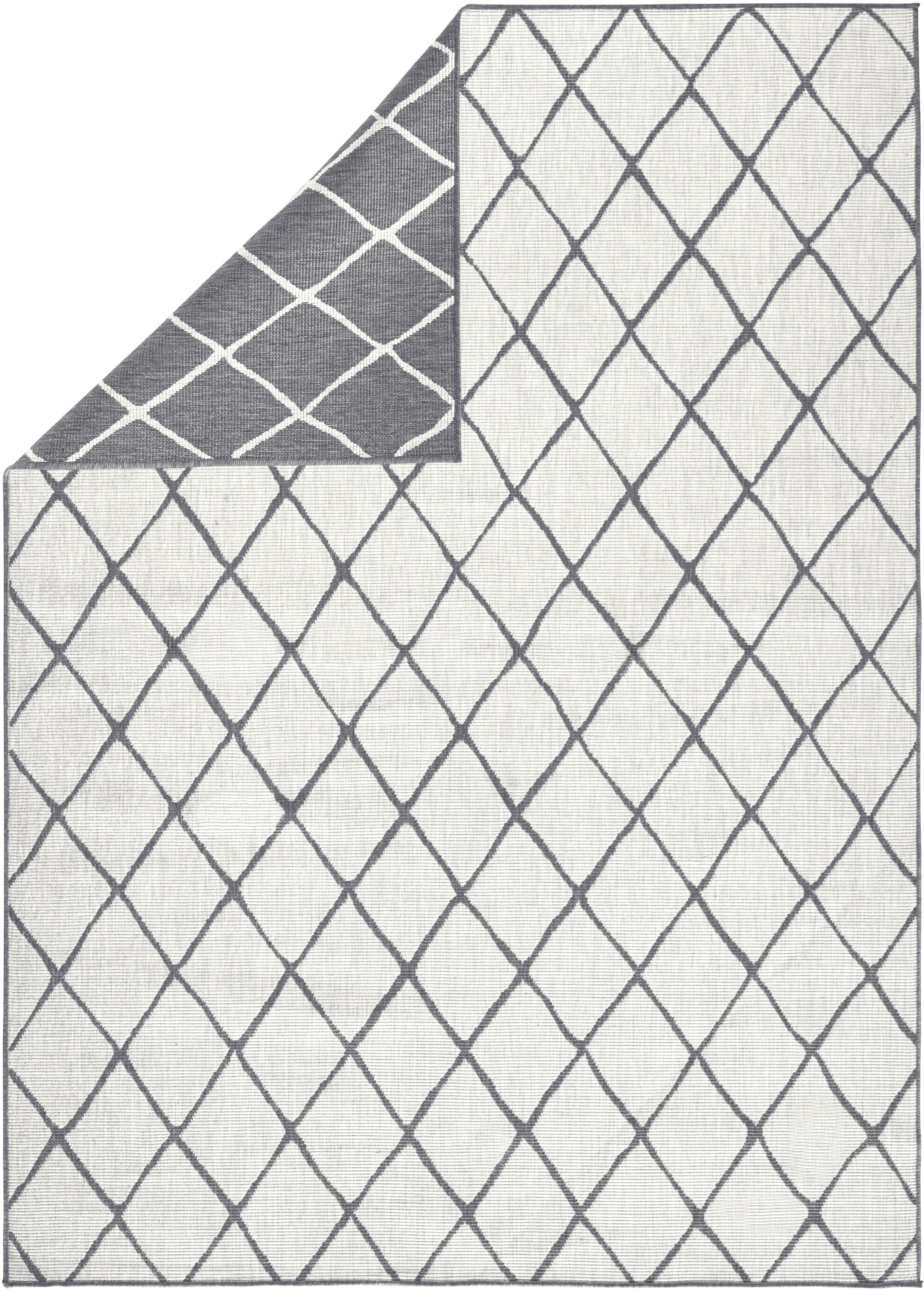 Dubbelzijdig in- en outdoor vloerkleed Malaga, met ruitjesmotief, Grijs, crèmekleurig, B 80 x L 150 cm (maat XS)