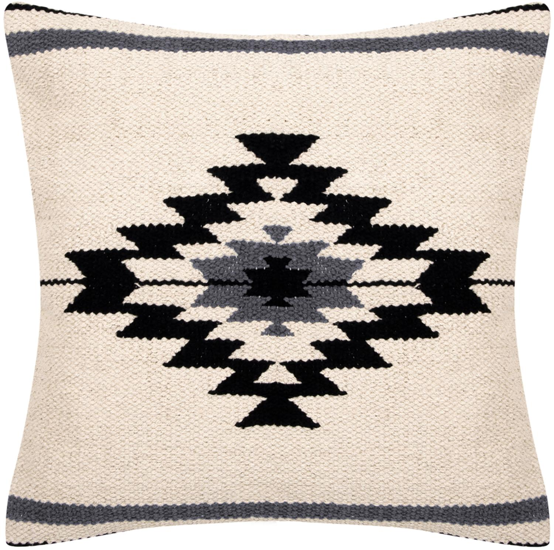 Federa arredo etnica Toluca, Cotone, Nero, beige, grigio, Larg. 45 x Lung. 45 cm