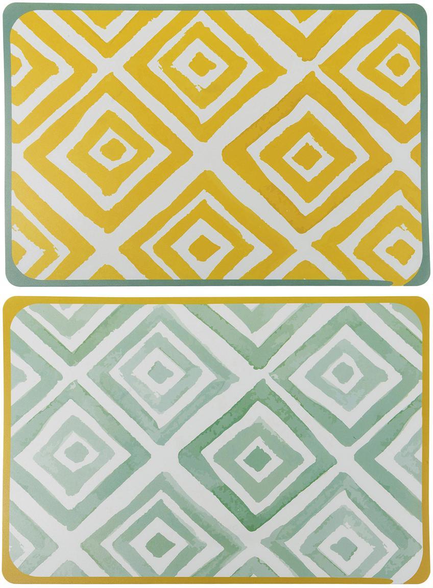 Placemats Oriental, 6-delig, Kunststof, Wit, groen, geel, B 45 x D 30 cm