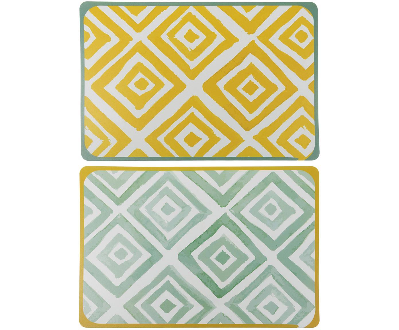 Tischsets Oriental, 6er Set, Kunststoff, Weiss, Grün, Gelb, B 45 x T 30 cm