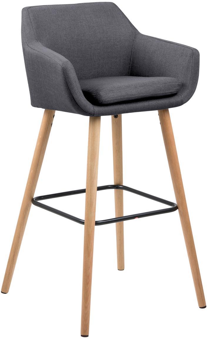 Krzesło barowe  Nora, Tapicerka: poliester, Nogi: drewno dębowe, olejowane, Tapicerka: ciemnyszary Nogi: drewno dębowe Podnóżek: czarny, S 55 x W 101 cm