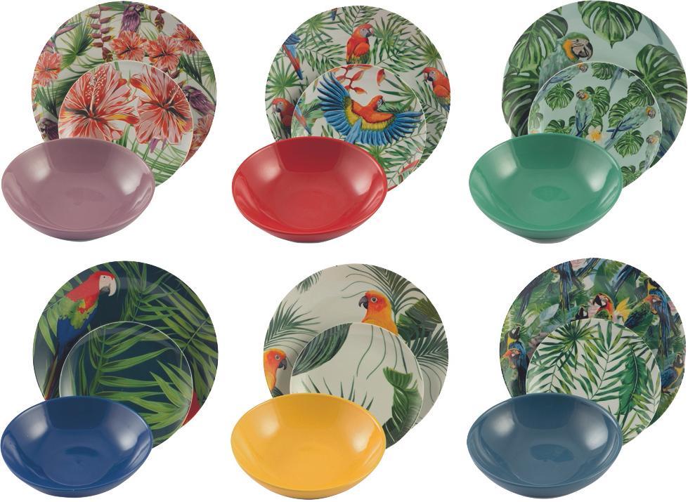 Set 18 piatti di design tropicale Parrot Jungle, Porcellana, Multicolore, Diverse dimensioni