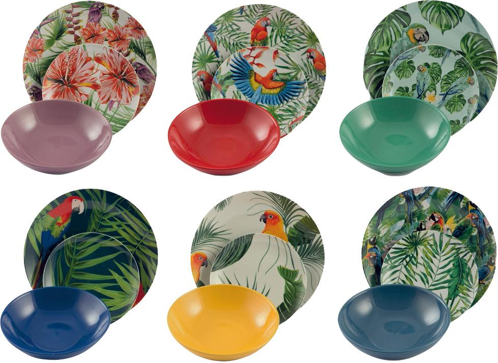 Vajilla Parrot Jungle, 6 comensales (18pzas.), Porcelana, Multicolor, Tamaños diferentes