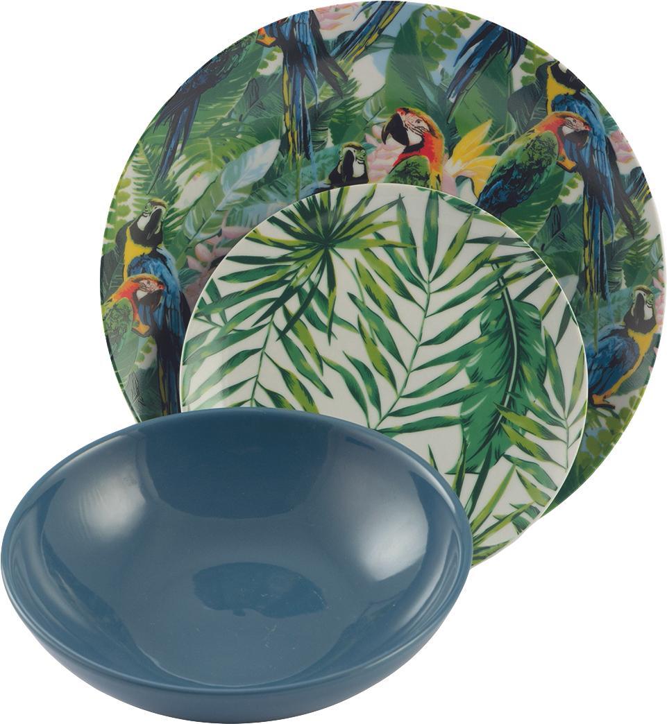 Geschirr-Set Parrot Jungle mit tropischem Design, 6 Personen (18-tlg.), Porzellan, Mehrfarbig, Sondergrößen