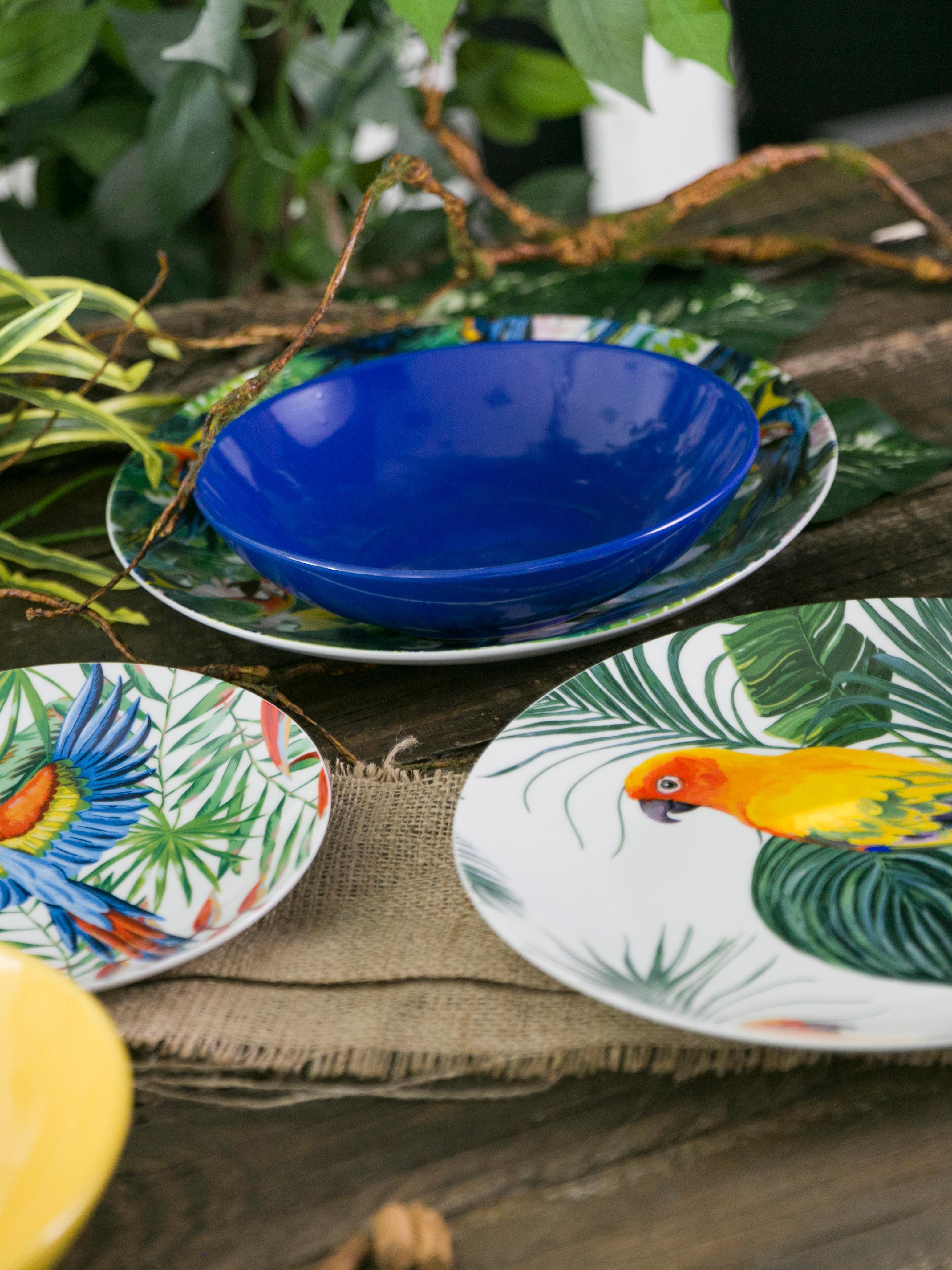 Komplet naczyń  Parrot Jungle, 18 elem., Porcelana, Wielobarwny, Komplet z różnymi rozmiarami
