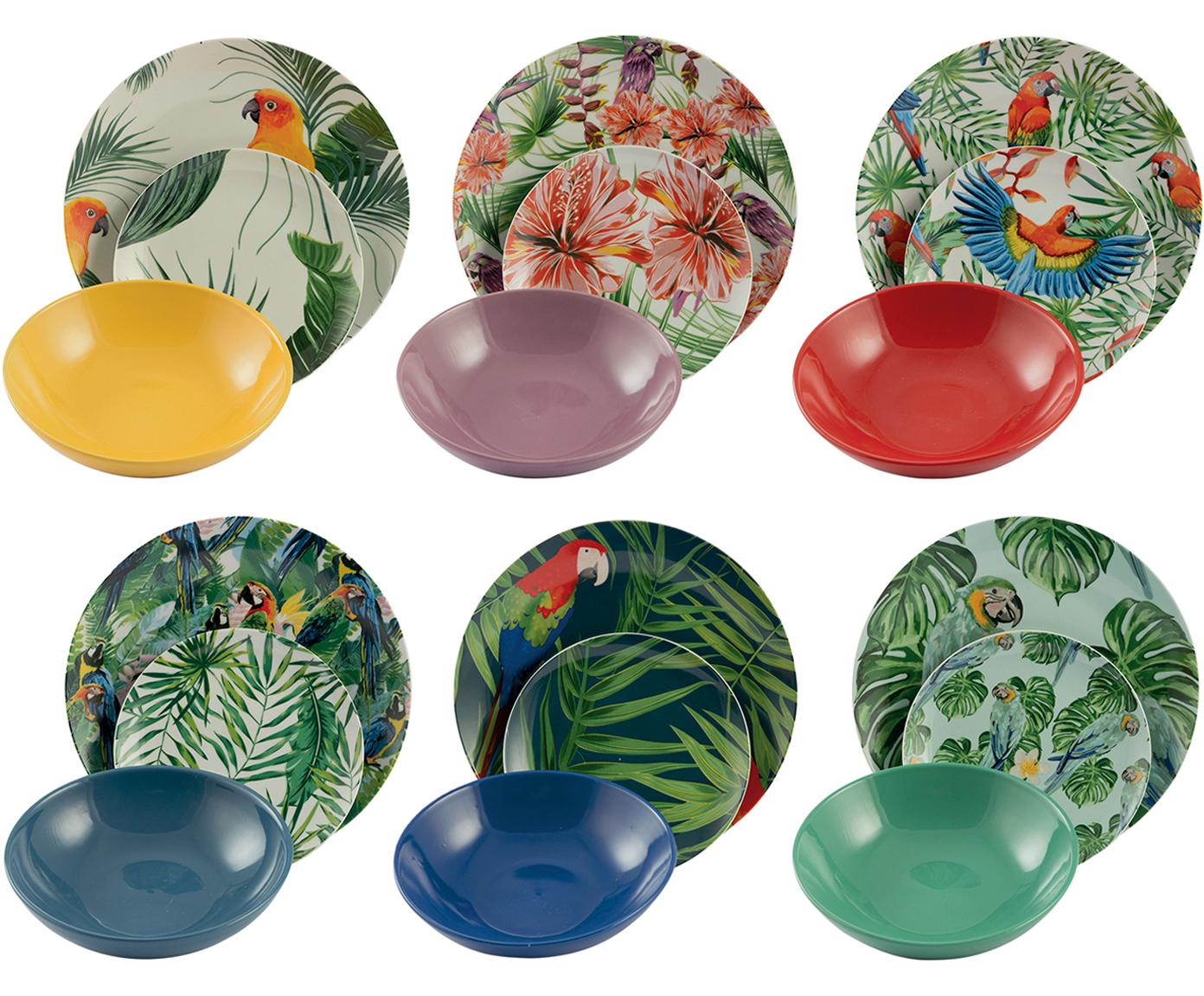 Set di piatti Parrot Jungle, 18 pz., Porcellana, Multicolore, Diverse dimensioni
