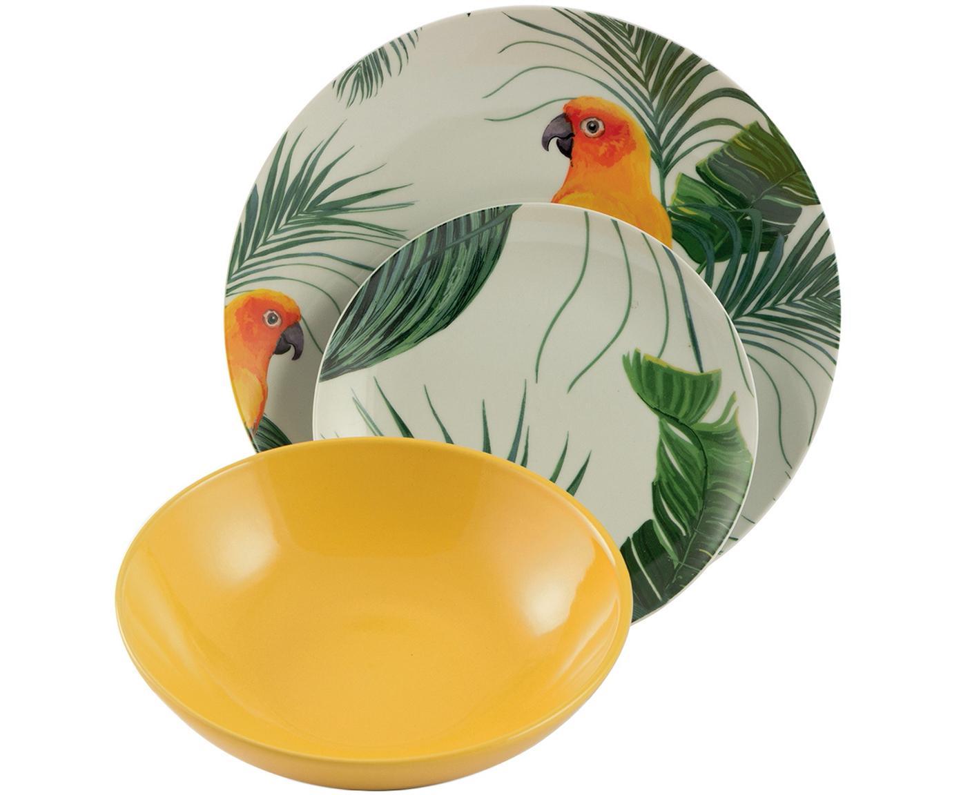 Komplet naczyń  Parrot Jungle, 18 elem., Porcelana, Wielobarwny, Różne rozmiary