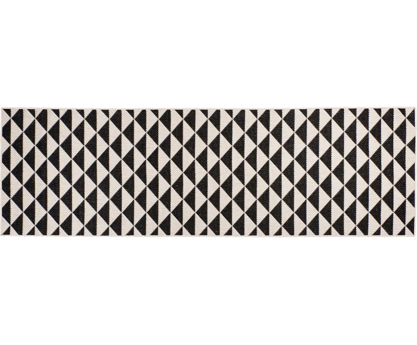 Gemusterter In- & Outdoor-Läufer Tahiti in Schwarz/Creme, 100% Polypropylen, Schwarz, Cremefarben, 80 x 250 cm