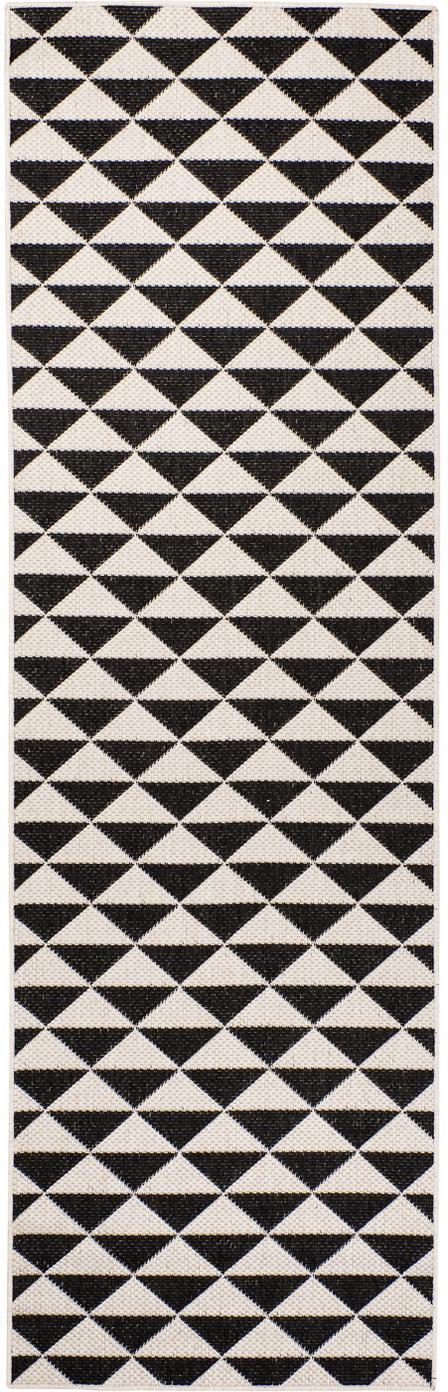 In- & outdoor loper met patroon Tahiti in zwart/crèmekleur, 100% polypropyleen, Zwart, crèmekleurig, 80 x 250 cm