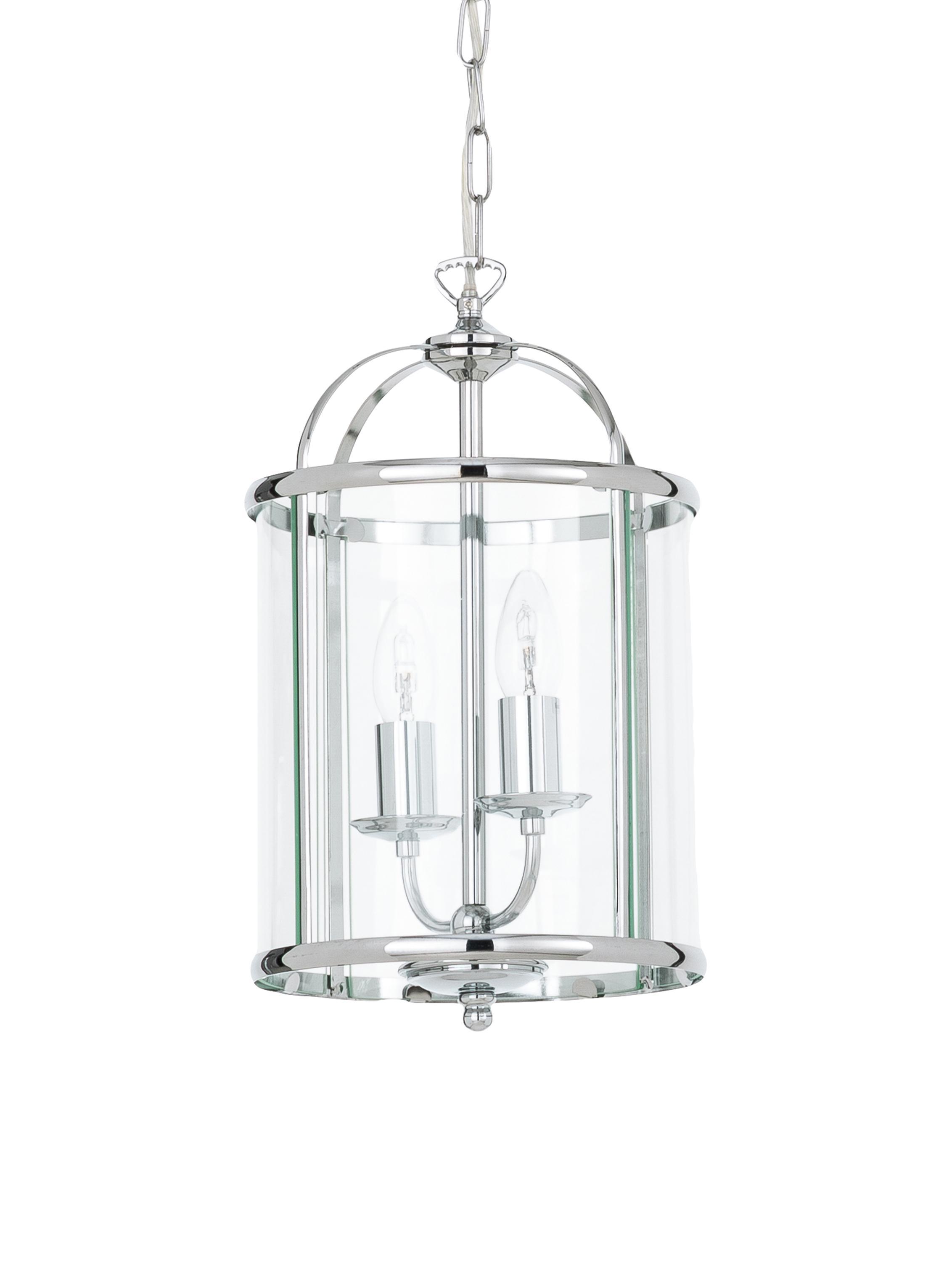 Kleine Pendelleuchte Budgie aus Glas, Lampenschirm: Nickel verchromt, Glas, Baldachin: Nickel, verchromt, Chrom, Transparent, Ø 23 x H 41 cm