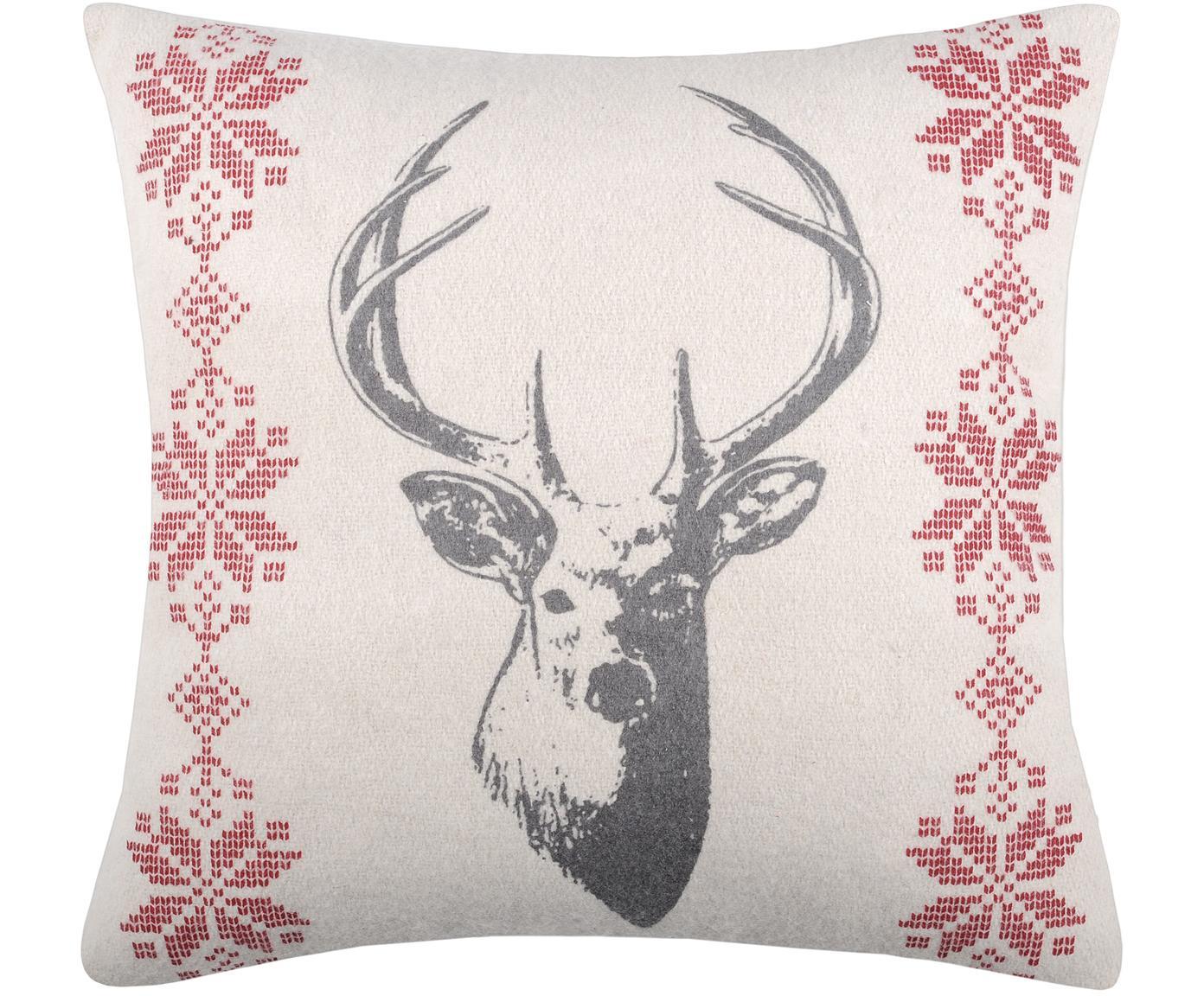 Kissen Forwood, mit Inlett, Bezug: 50% Baumwolle, 32% Wolle,, Grau, Weiß, Rot, 40 x 40 cm