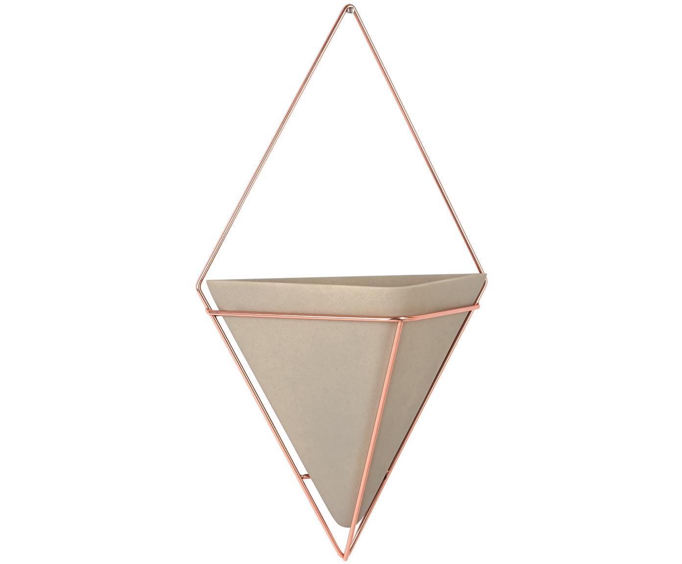 Dekoracja ścienna z pojemnikiem do przechowywania Trigg, Szary, miedź, matowy, S 22 x W 38 cm