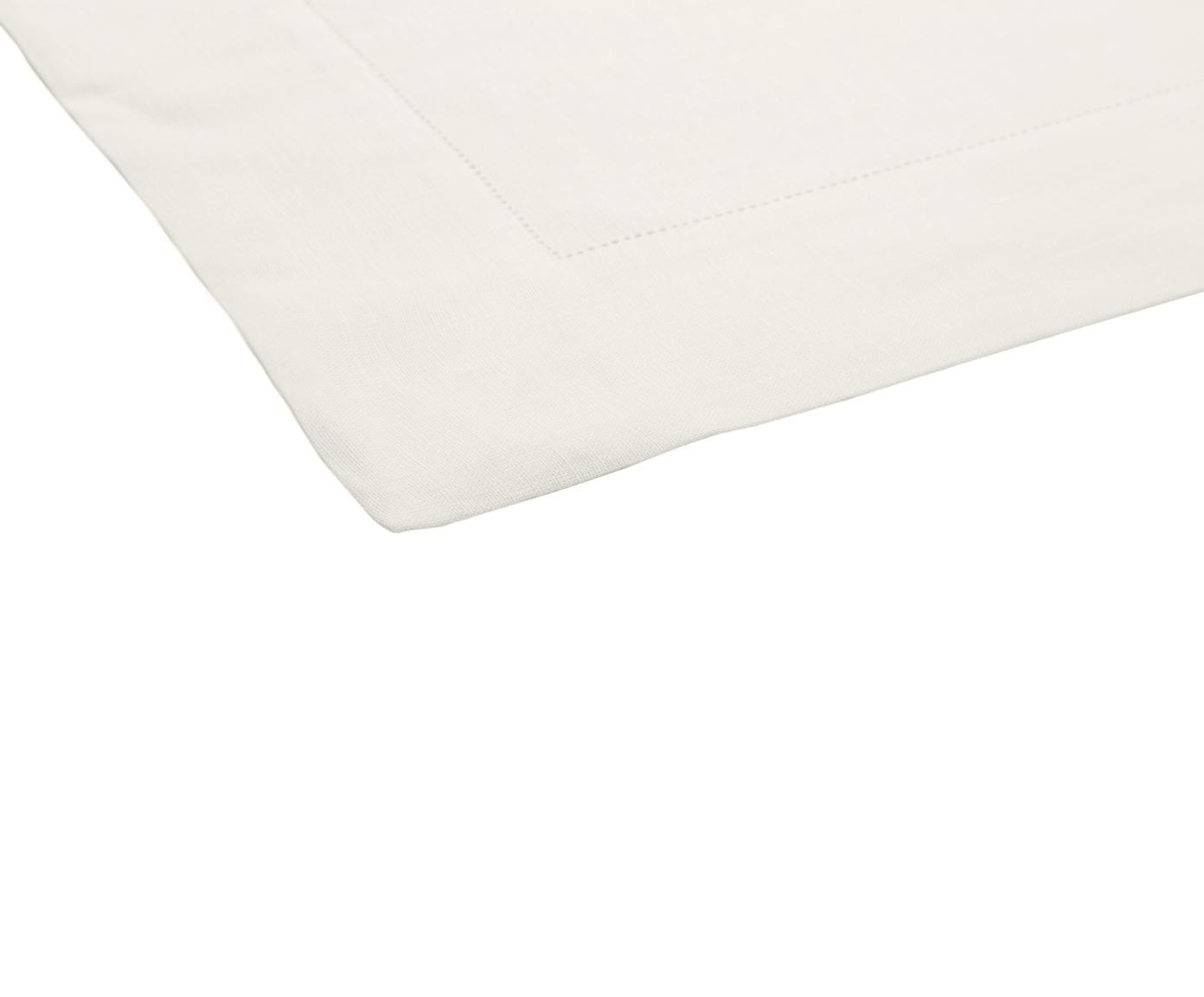 Tovaglia in lino con orlo a giorno Alanta, Bianco crema, Per 6-8 persone  (Larg.160 x Lung. 250 cm)
