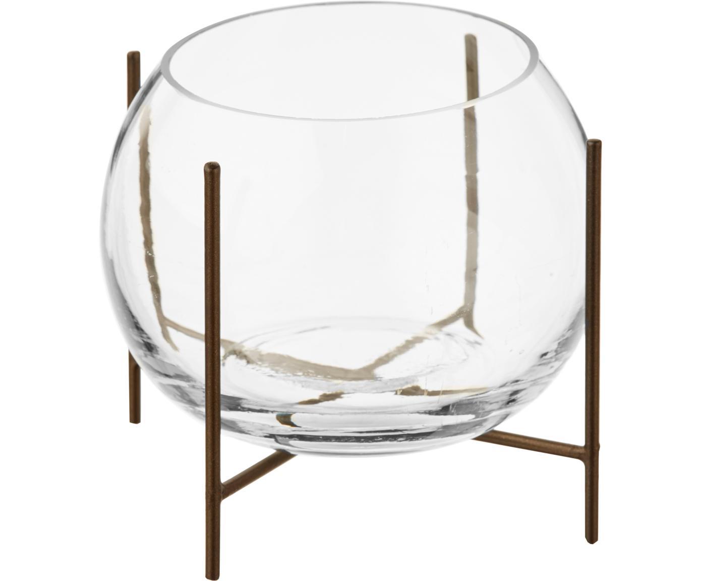 Vaso a sfera con struttura in metallo Ada, Struttura: metallo rivestito, Vaso: vetro, Ottonato trasparente, Ø 8 x Alt. 11 cm