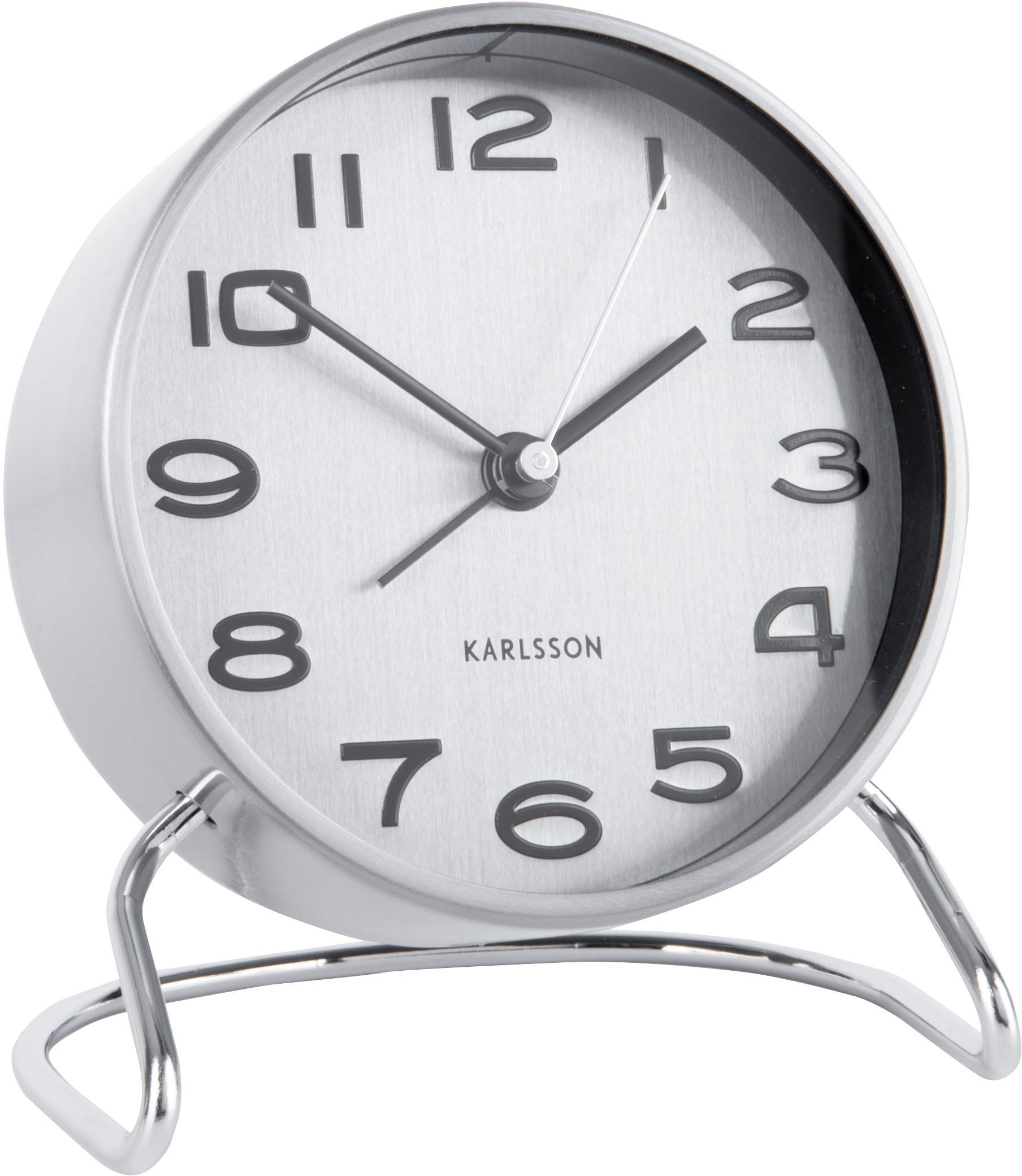 Despertador Classical, Metal recubierto, Cromo, blanco, negro, Ø 10 cm