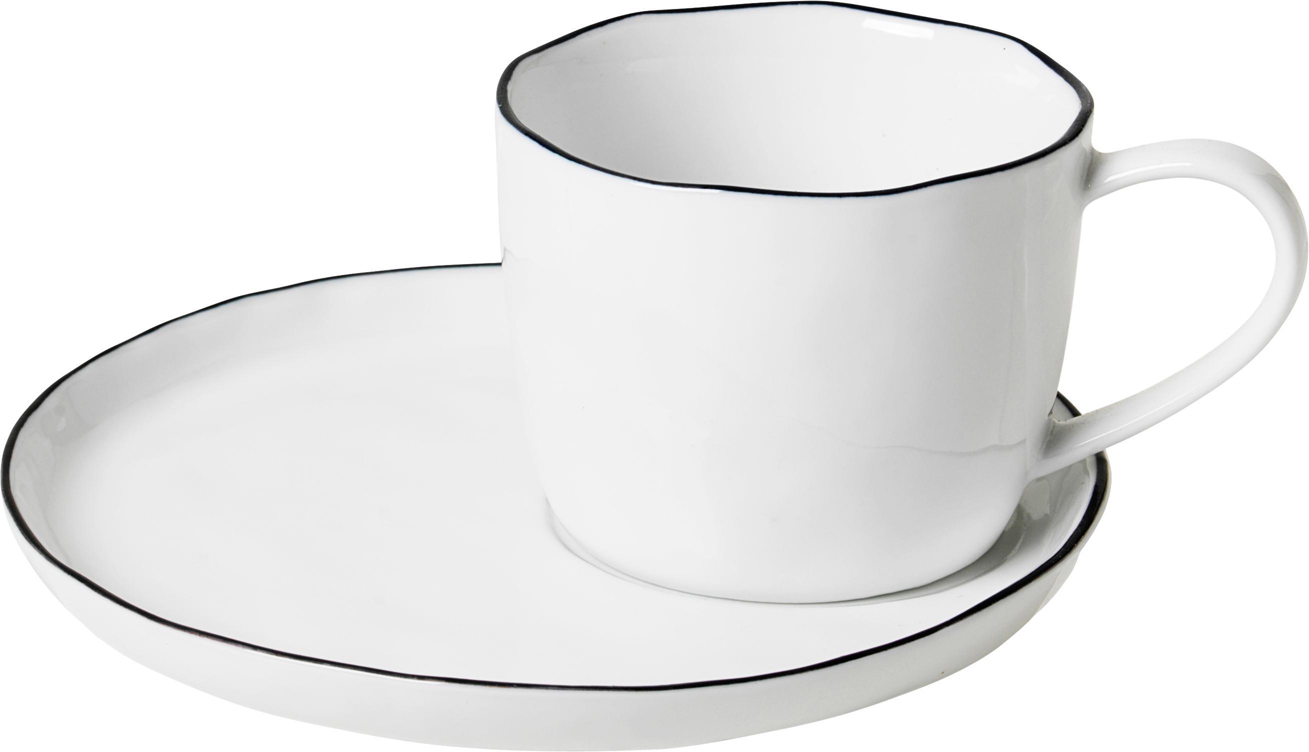 Ręcznie wykonany kubek z spodkiem Salt, Porcelana, Złamana biel Krawędź: czarny, Ø 8 x W 7 cm