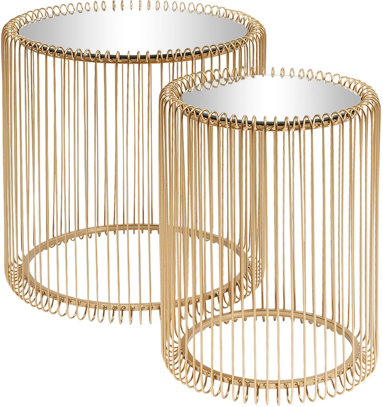 Komplet stolików pomocniczych z metalu ze szklanym blatem Wire, 2 elem., Stelaż: metal malowany proszkowo, Blat: szkło hartowane, foliowan, Złoty, Różne rozmiary