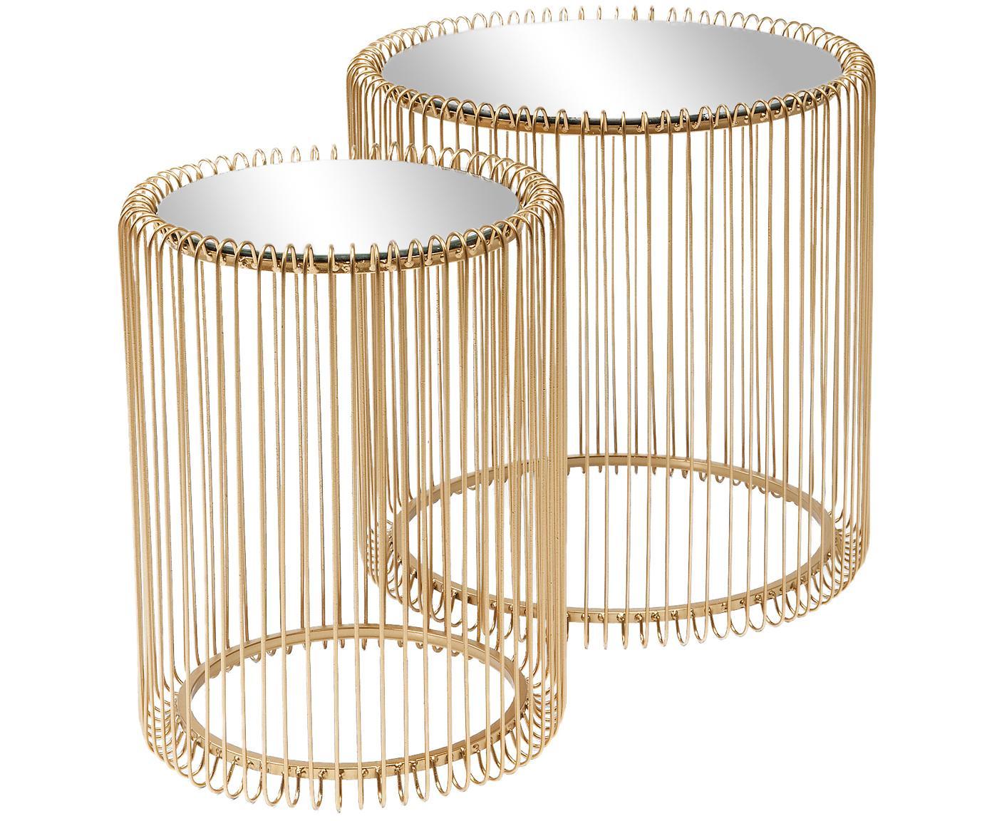 Metalen salontafel 2-delig Wire met glazen tafelblad, Frame: gepoedercoat staal, Tafelblad: veiligheidsglas, Messingkleurig, Verschillende formaten