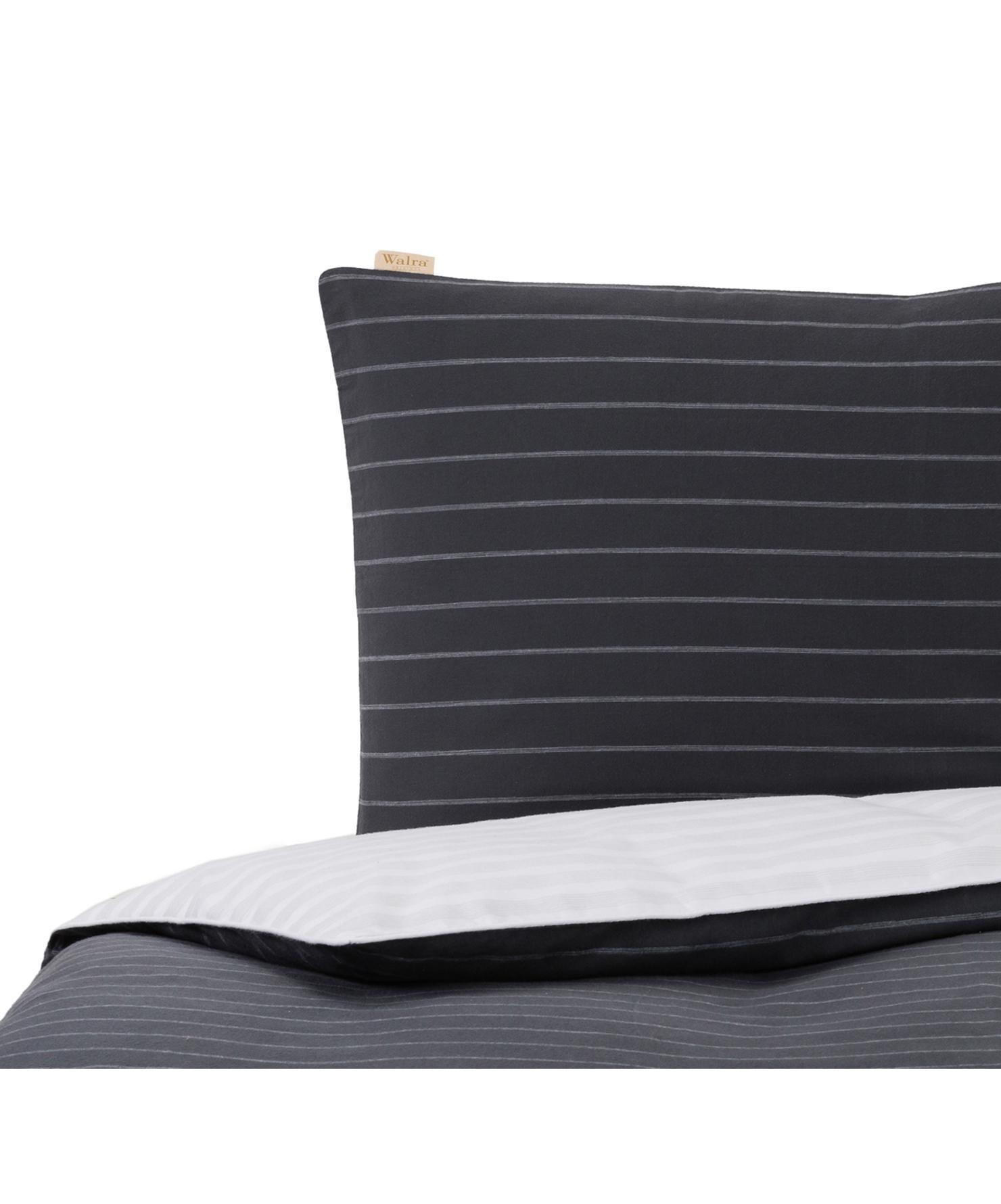 Flanell-Wendebettwäsche Refined Weaves, gestreift, Webart: Flanell Flanell ist ein s, Anthrazit, Weiß, 155 x 220 cm + 1 Kissen 80 x 80 cm