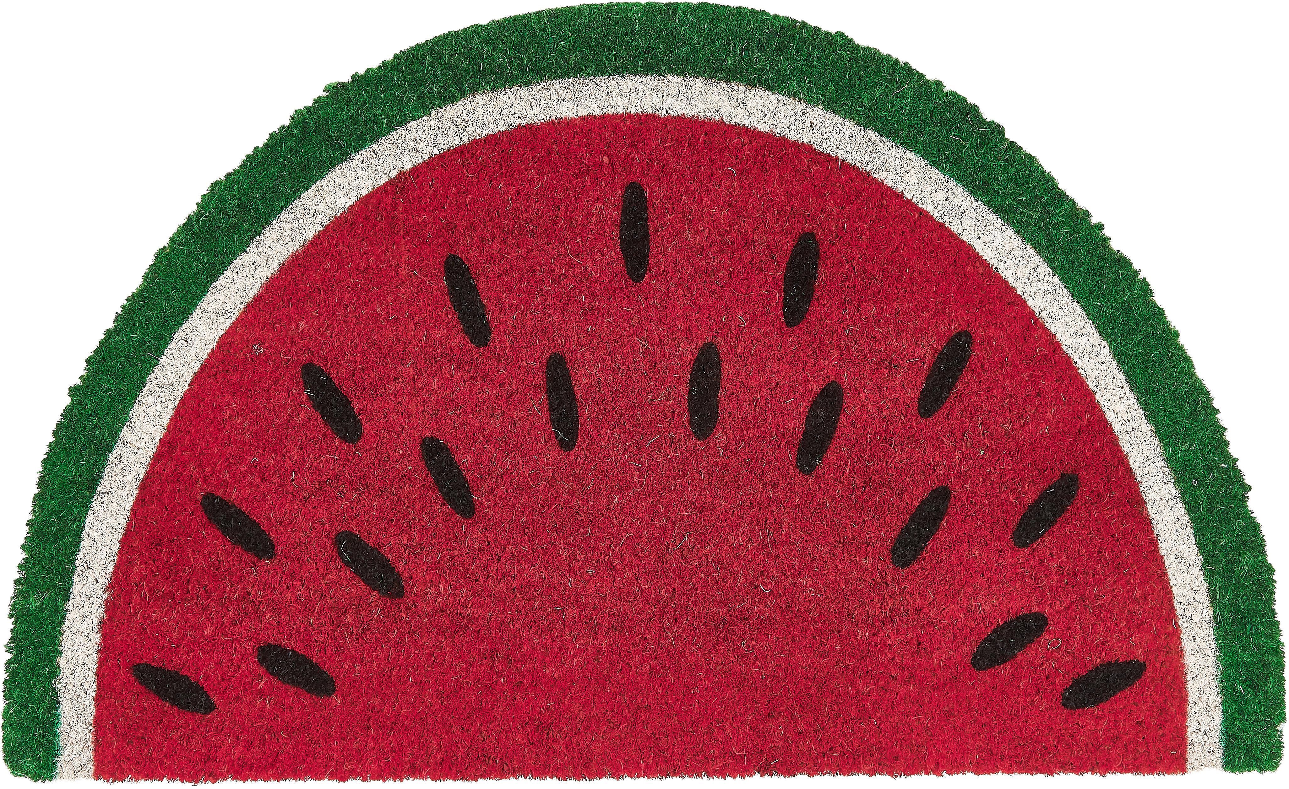 Fußmatte Watermelon, Oberseite: Kokosfaser, Unterseite: Kunststoff (PVC), Rot, Grün, Weiß, Schwarz, 45 x 70 cm
