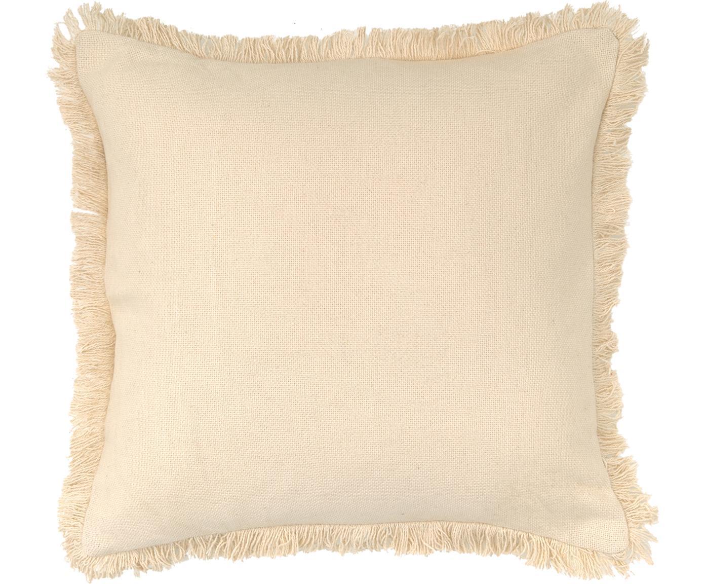 Cuscino con frange e imbottitura Prague, Retro: cotone, Bianco latteo, Larg. 40 x Lung. 40 cm