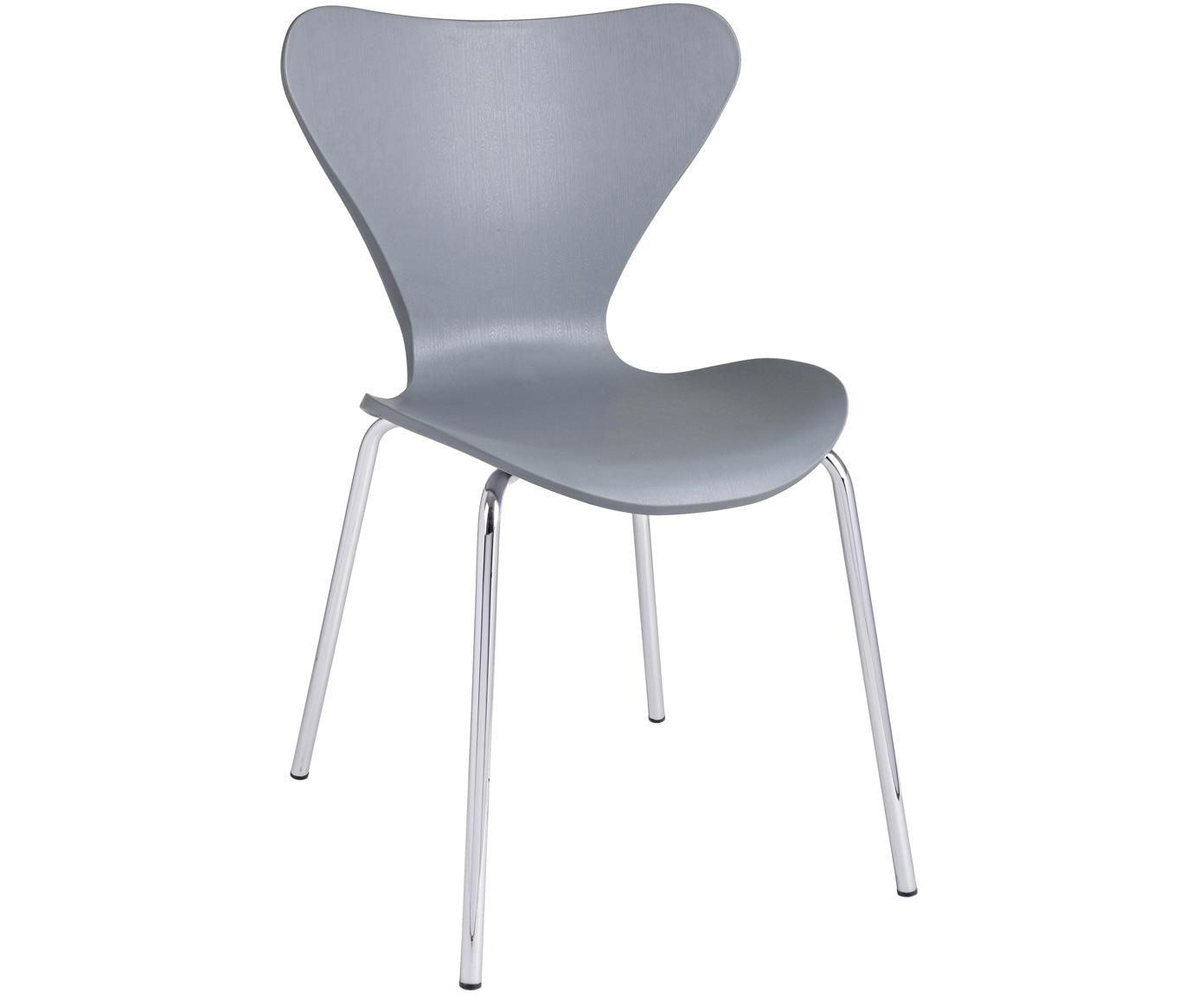 Stapelbare Kunststoffstühle Tessa, 2 Stück, Sitzfläche: Kunststoff (Polypropylen), Beine: Metall, verchromt, Hellgrau, Chrom, B 50 x T 50 cm