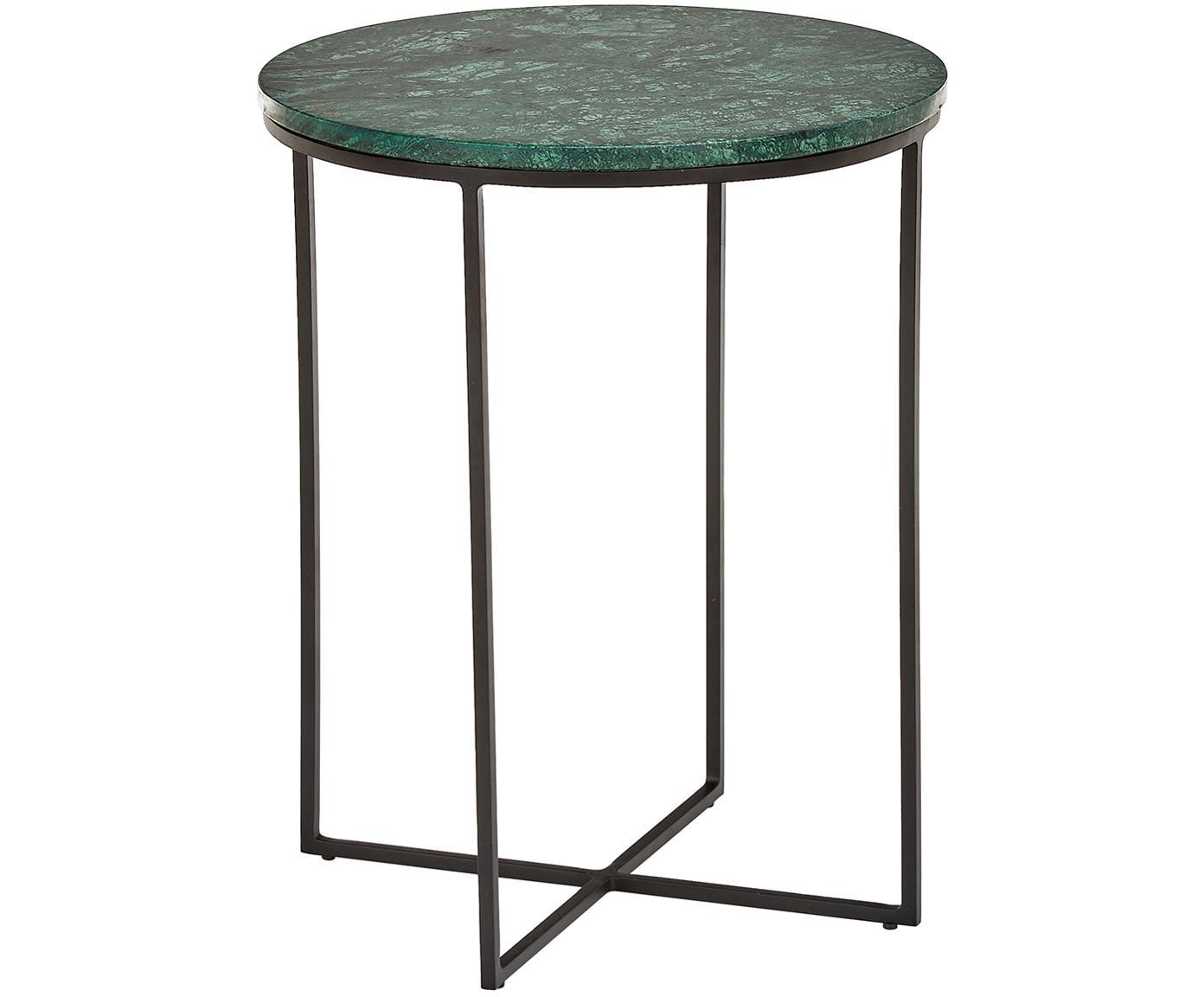 Marmor-Beistelltisch Alys, Tischplatte: Marmor, Gestell: Metall, pulverbeschichtet, Tischplatte: Grüner Marmor Gestell: Schwarz, matt, Ø 40 x H 50 cm
