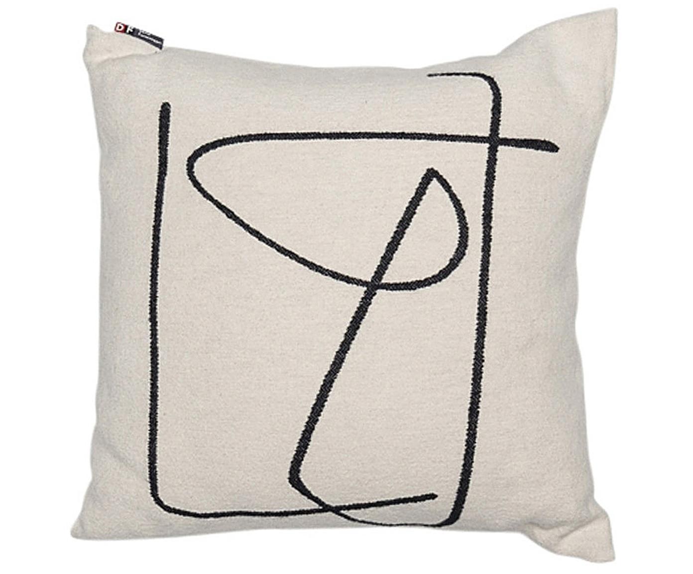 Cuscino con motivo astratto Nova, Rivestimento: 85% cotone, 8% viscosa, 7, Bianco, nero, Larg. 50 x Lung. 50 cm