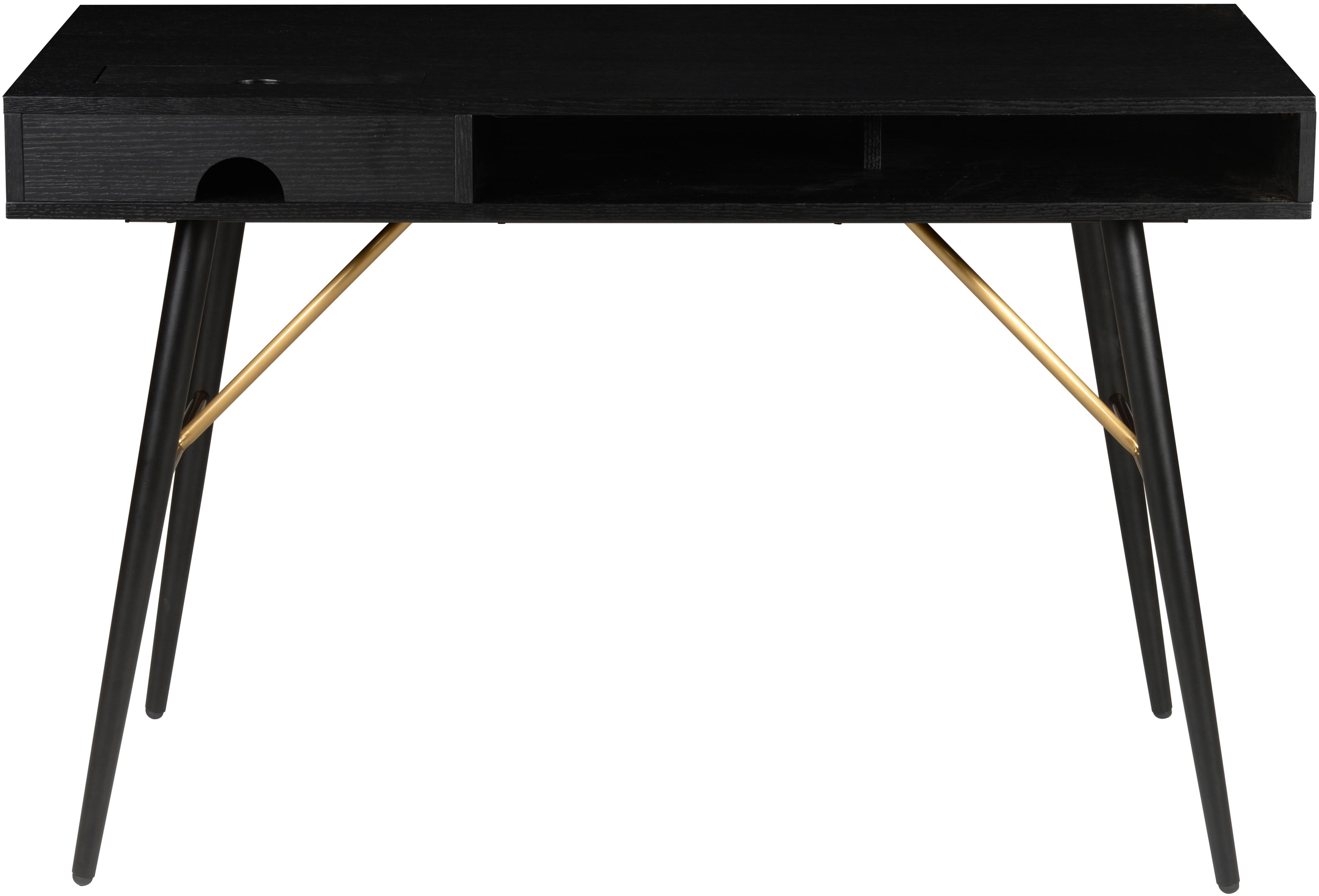 Schreibtisch Verona in Schwarz, Korpus: Mitteldichte Holzfaserpla, Beine: Metall, pulverbeschichtet, Schwarz, B 117 x T 57 cm