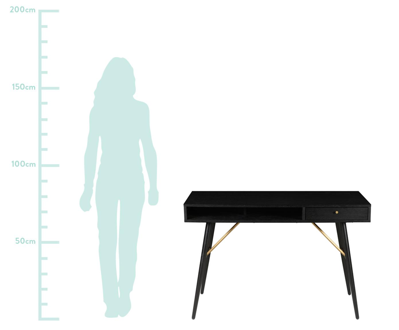 Biurko Verona, Korpus: płyta pilśniowa średniej , Nogi: metal malowany proszkowo, Czarny, S 117 x G 57 cm