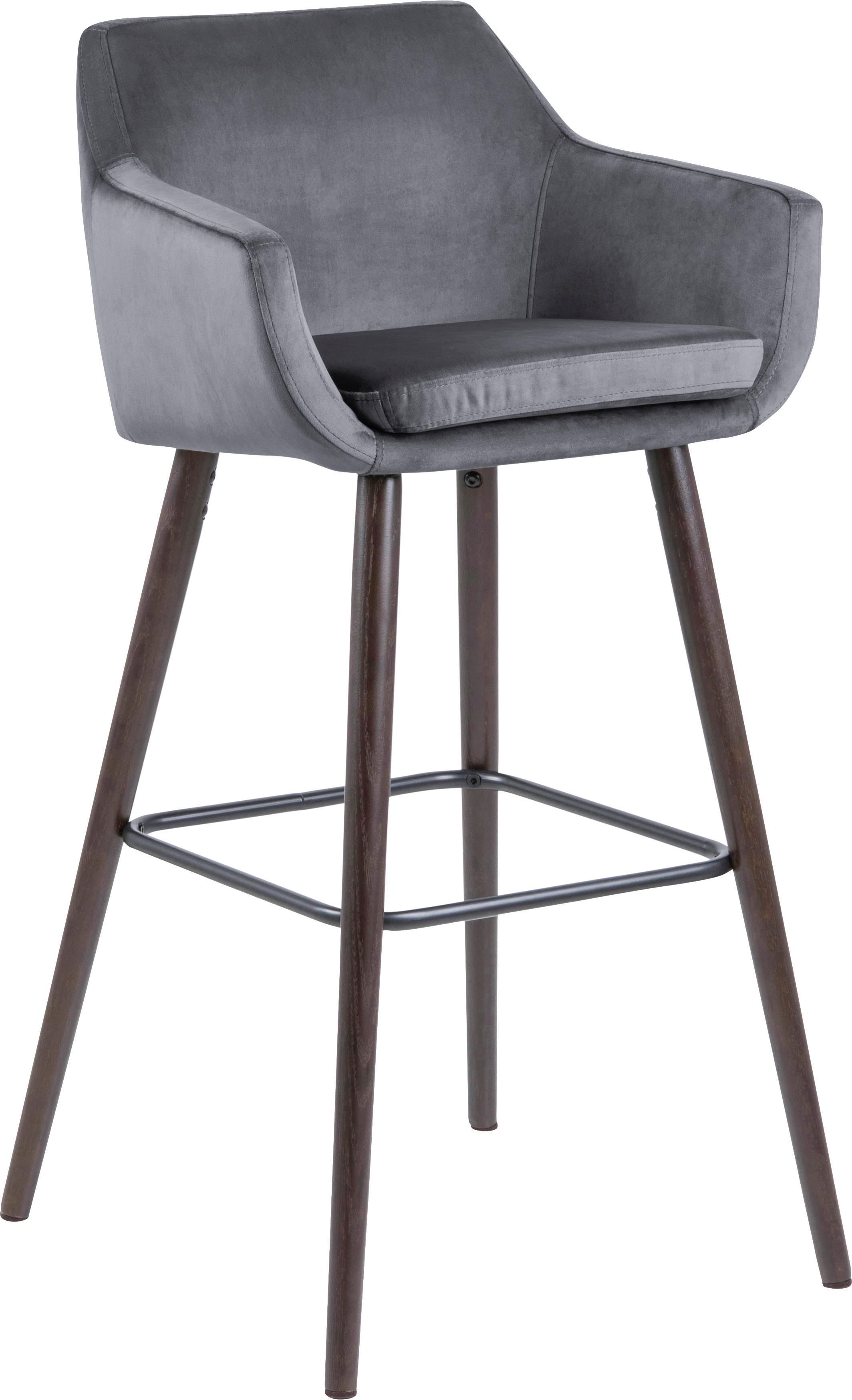 Krzesło barowe z aksamitu Nora, 2 szt., Tapicerka: aksamit poliestrowy 25 00, Nogi: drewno dębowe, bejcowane , Ciemny szary, ciemny brązowy, czarny, S 55 x W 101 cm