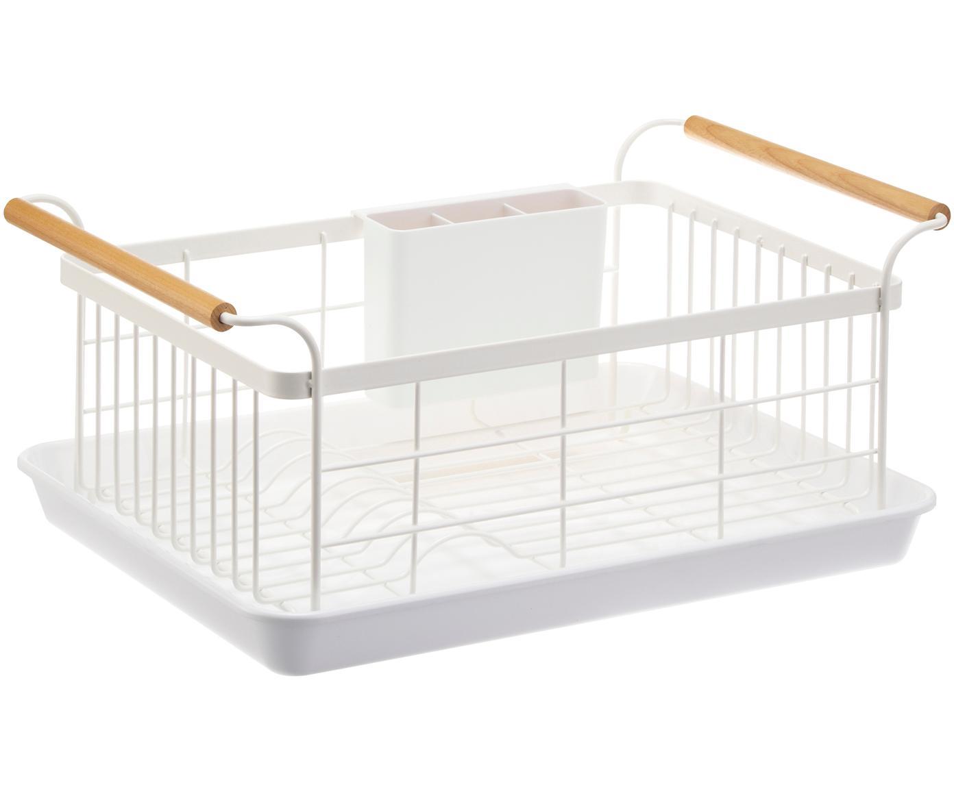 Abtropfgestell Tosca, Korb: Stahl, beschichtet, Griffe: Holz, Weiß, Holz, 47 x 20 cm