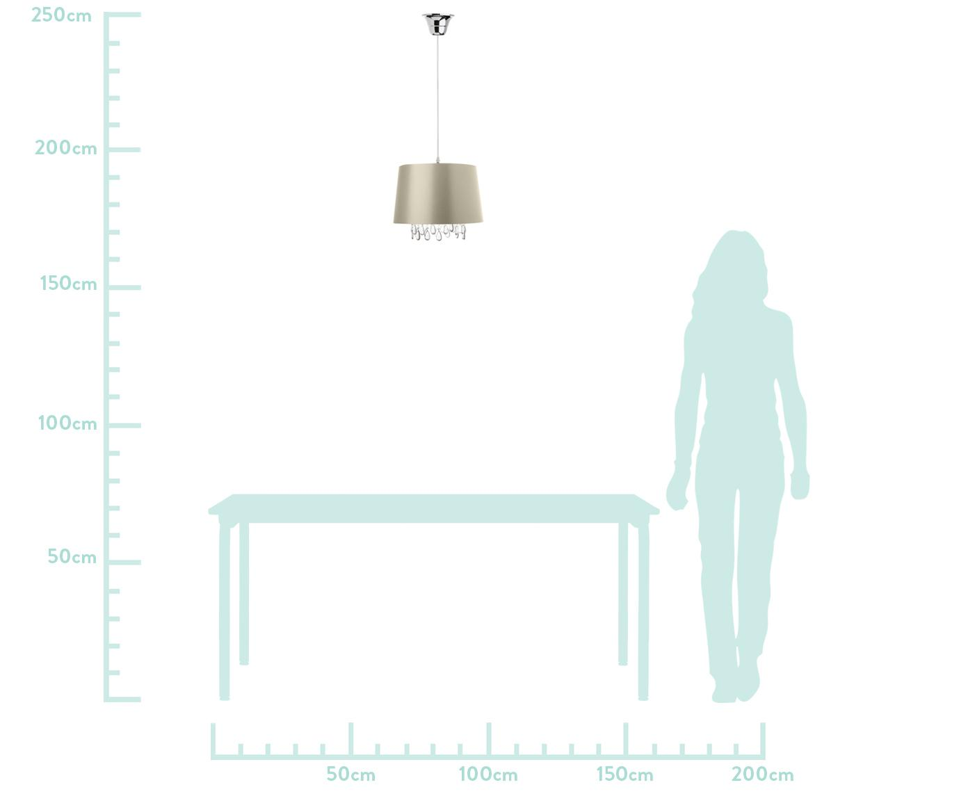 Lampada a sospensione con pietre decorative Valerie, Paralume: tessuto, Baldacchino: materiale sintetico, Champagne, Ø 32 x Alt. 25 cm
