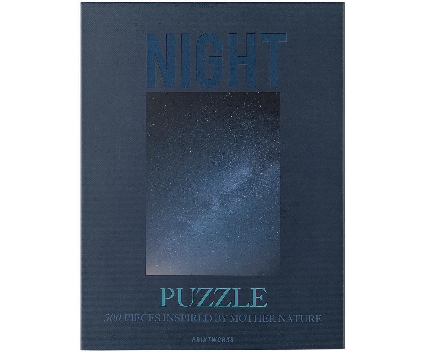 Puzzle Night, 500-delig, Papier, hout, Blauw, 25 x 4 cm