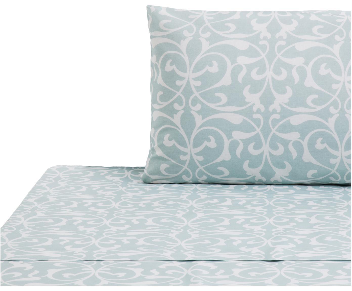 Set lenzuola in cotone Sola 2 pz, Cotone, Azzurro, bianco, 160 x 270 cm