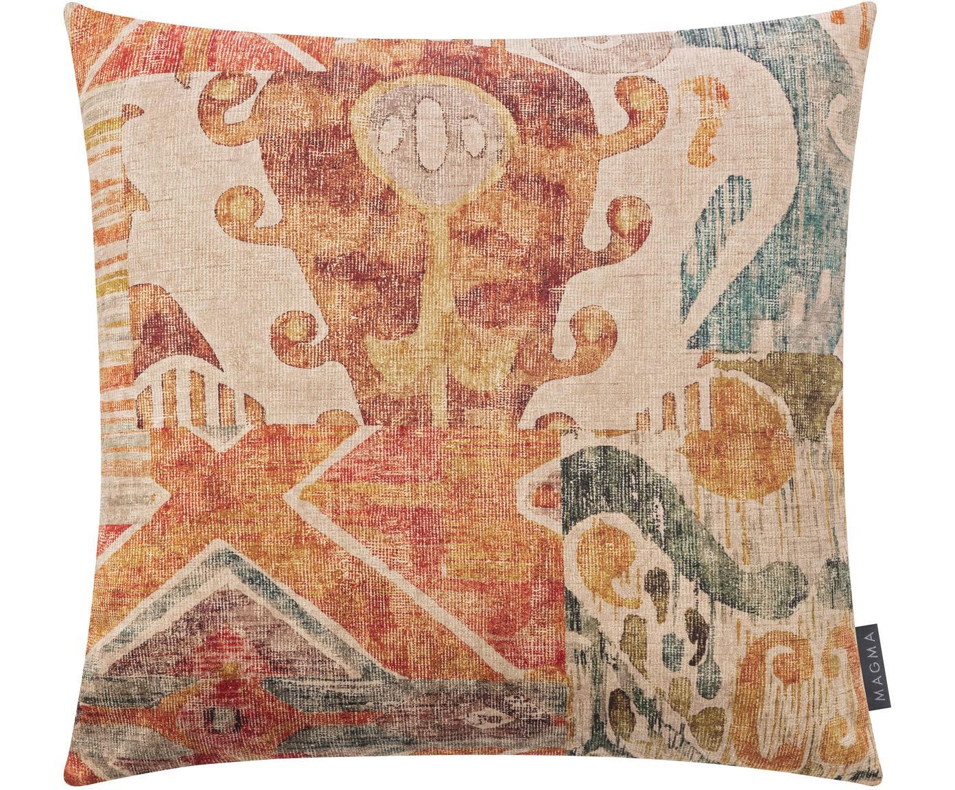 Samt-Kissenhülle Cosima mit buntem Ethno-Muster, 100% Polyestersamt, Orange, Mehrfarbig, 50 x 50 cm