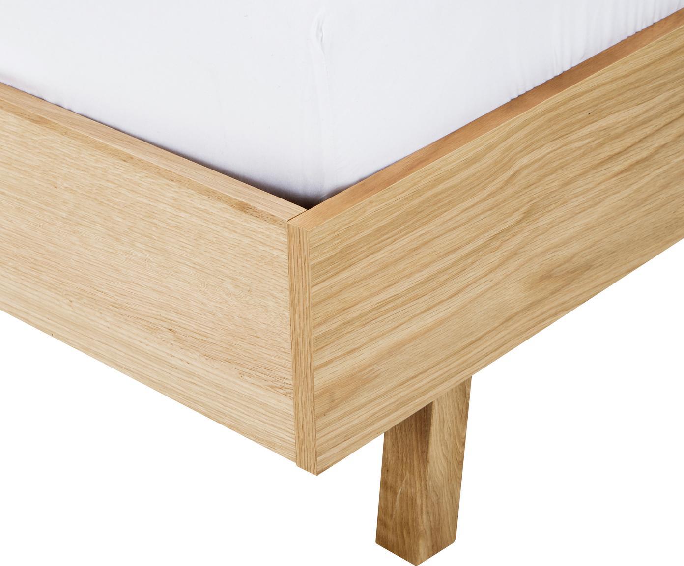 Holzbett Tammy ohne Kopfteil, Gestell: Sperrholz mit Eichenholzf, Eichenholz, 160 x 200 cm