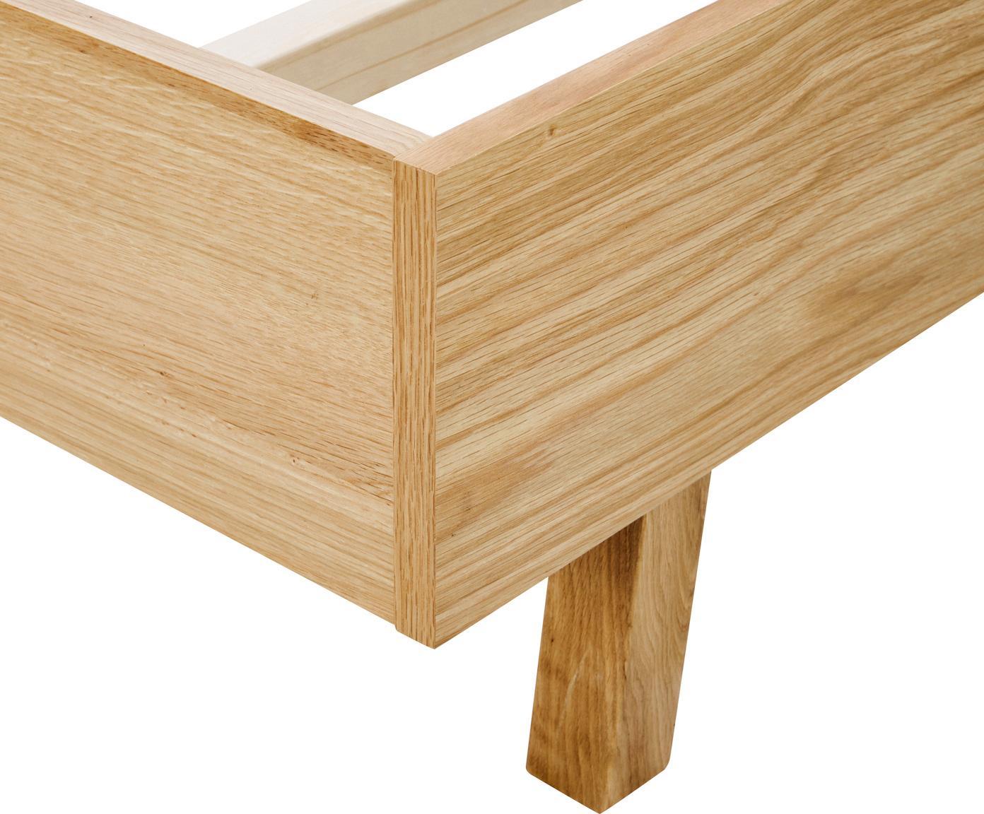 Struttura letto in legno senza testiera Tammy, Struttura: compensato con rivestimen, Piedini: legno di quercia massicci, Legno di quercia, 160 x 200 cm